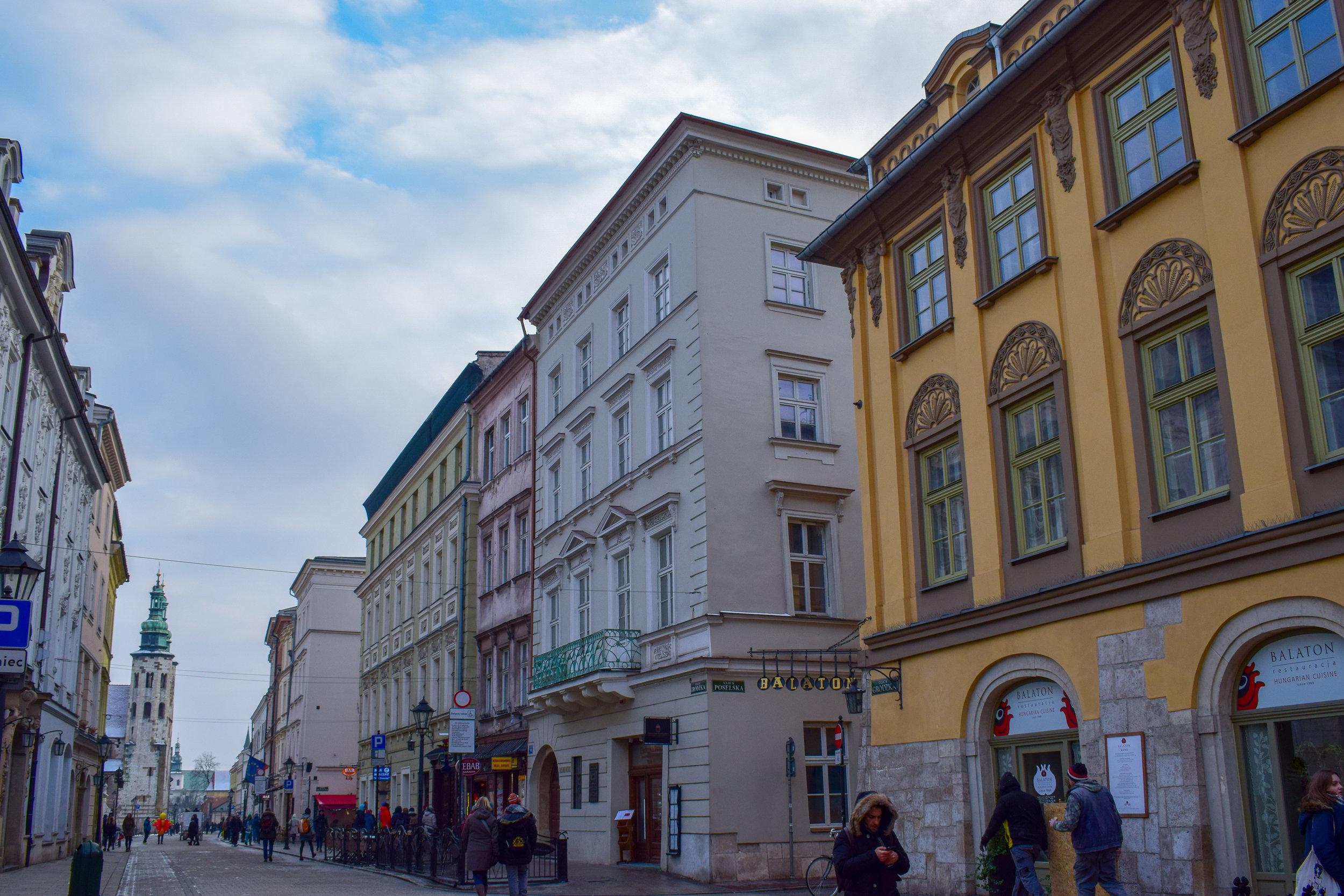 A colourful street in Krakow.