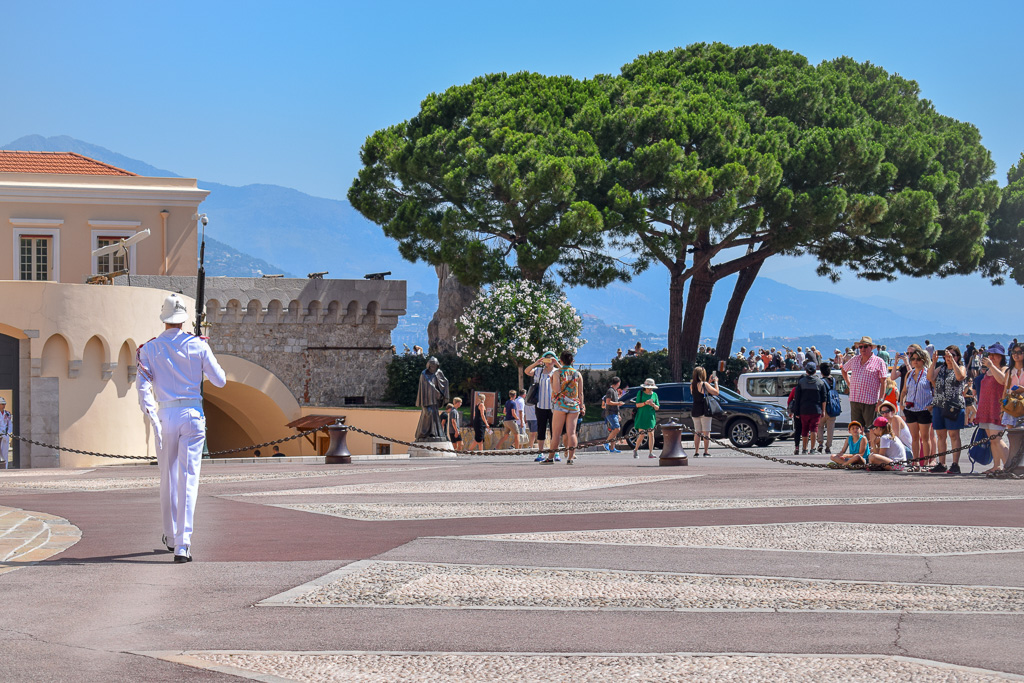 People watch the changing of the guard at the Prince's Palace of Monaco.