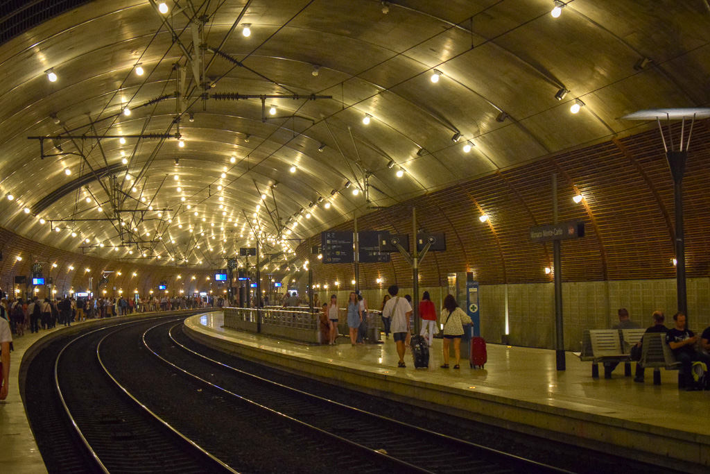 Waiting on the platform at Monaco-Monte-Carlo station.