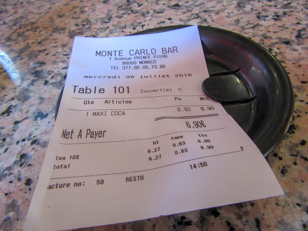 A receipt for a pint of Coca-Cola in Monte Carlo.