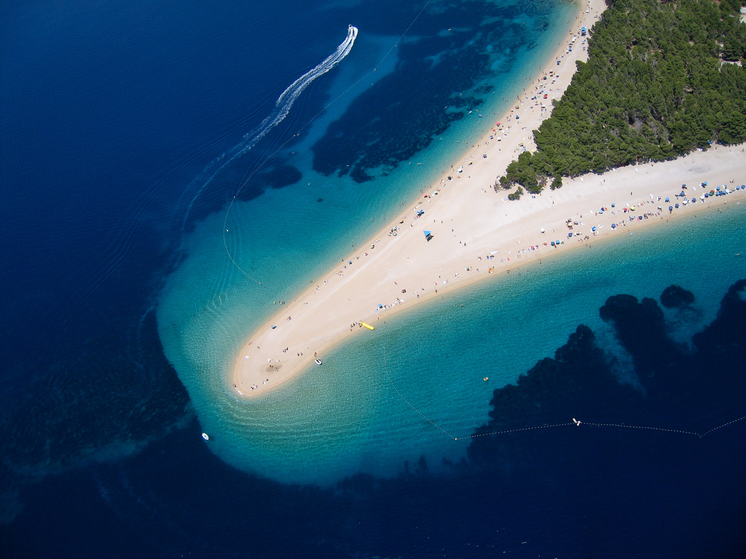 An aerial shot of the incredible Zlatni Rat beach in Brac. Image credit:  Szabolcs Emich / Creative Commons