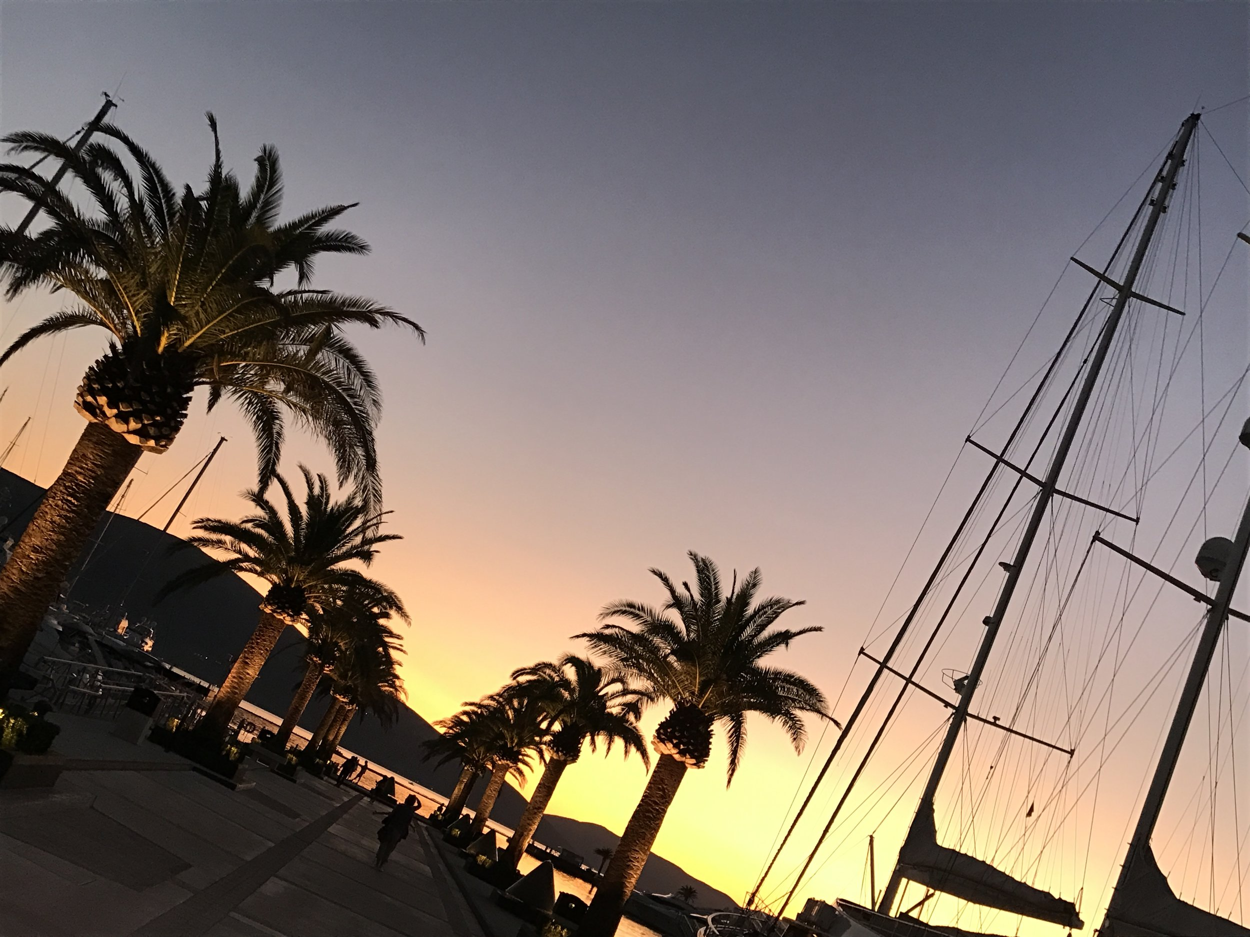 A stunning sunset at Tivat's Porto Montenegro.