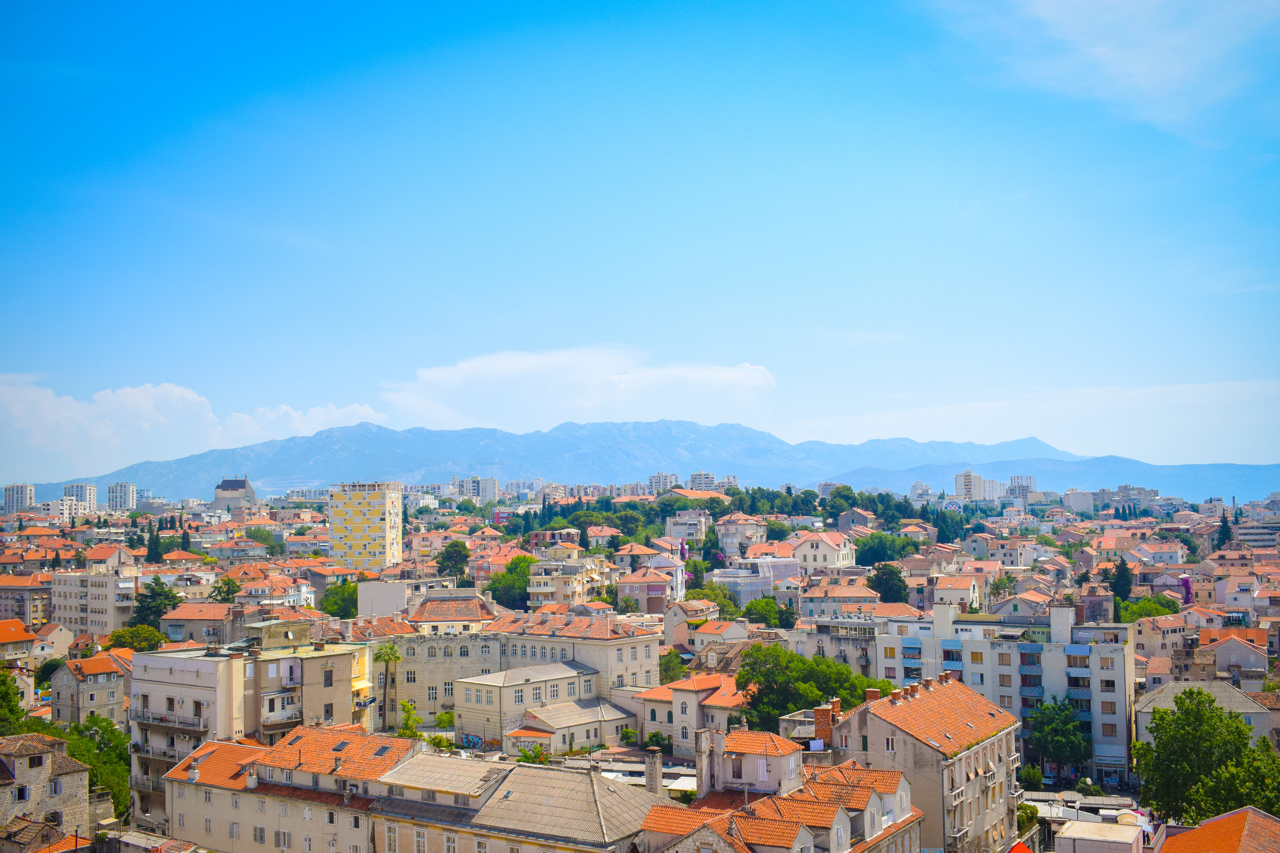 Overlooking the terracotta roofs of Croatian city Split.