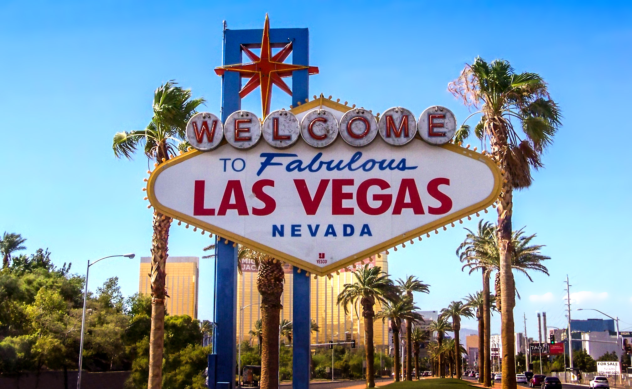 The famous Las Vegas sign which greets thousands of tourists each year.