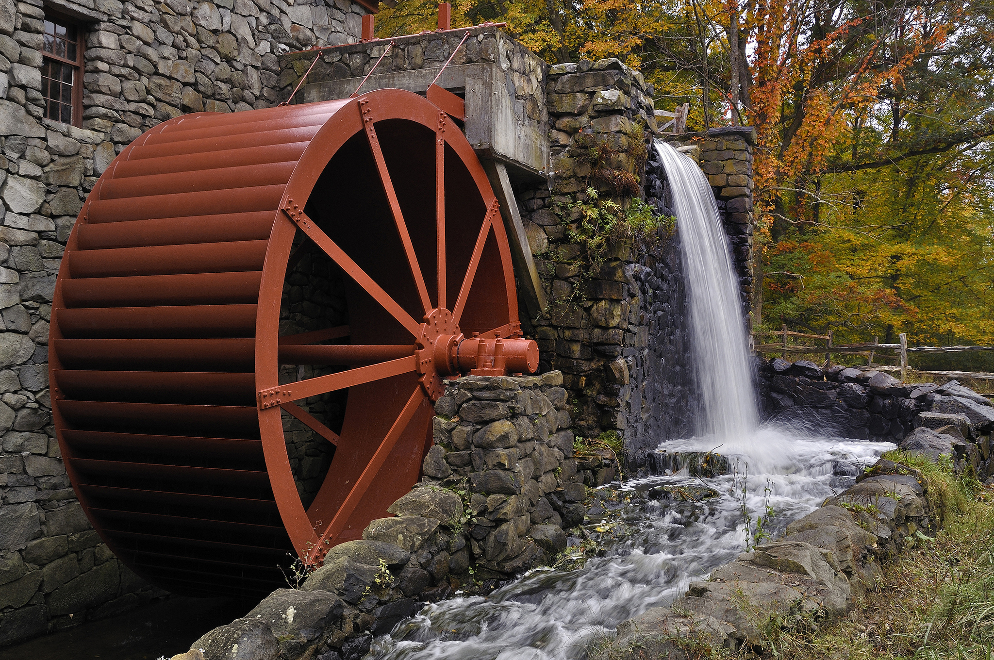 The water wheel at Sudbury's Wayside Inn Grist Mill. Image credit:  Massachusetts Office of Travel & Tourism / Creative Commons