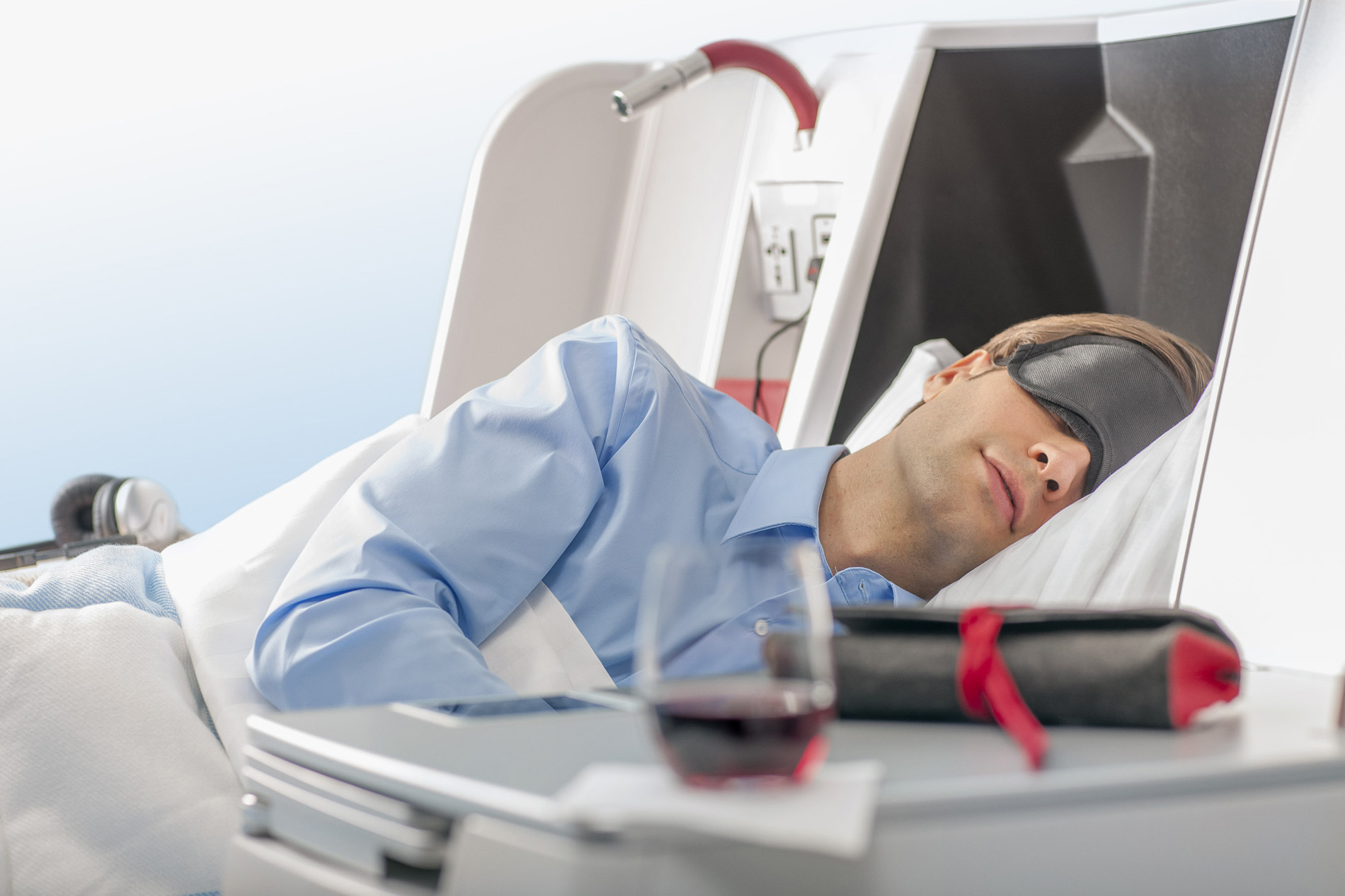 Getting sleep in the business class cabin. Image credit:  Austrian Airlines / Creative Commons