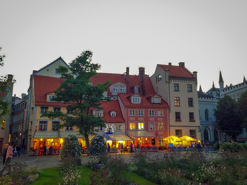 Restaurants in a Riga square.
