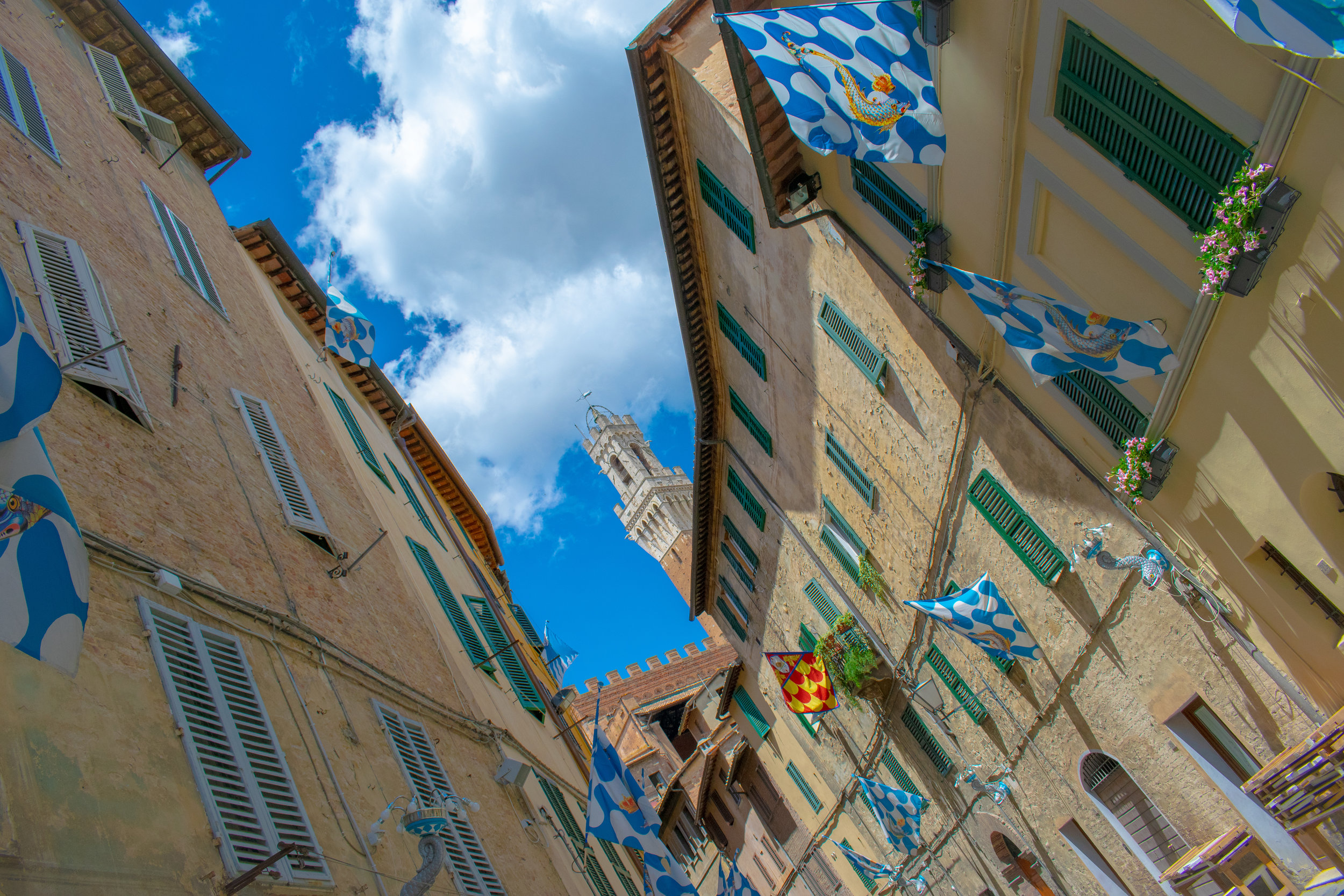 The streets of Siena decorated in house colours ready for the Palio horse race.