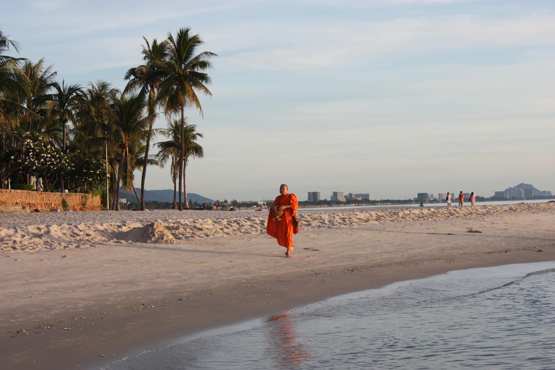 Hua Hin's beaches are great for relaxation, hence why they're also used by monks.