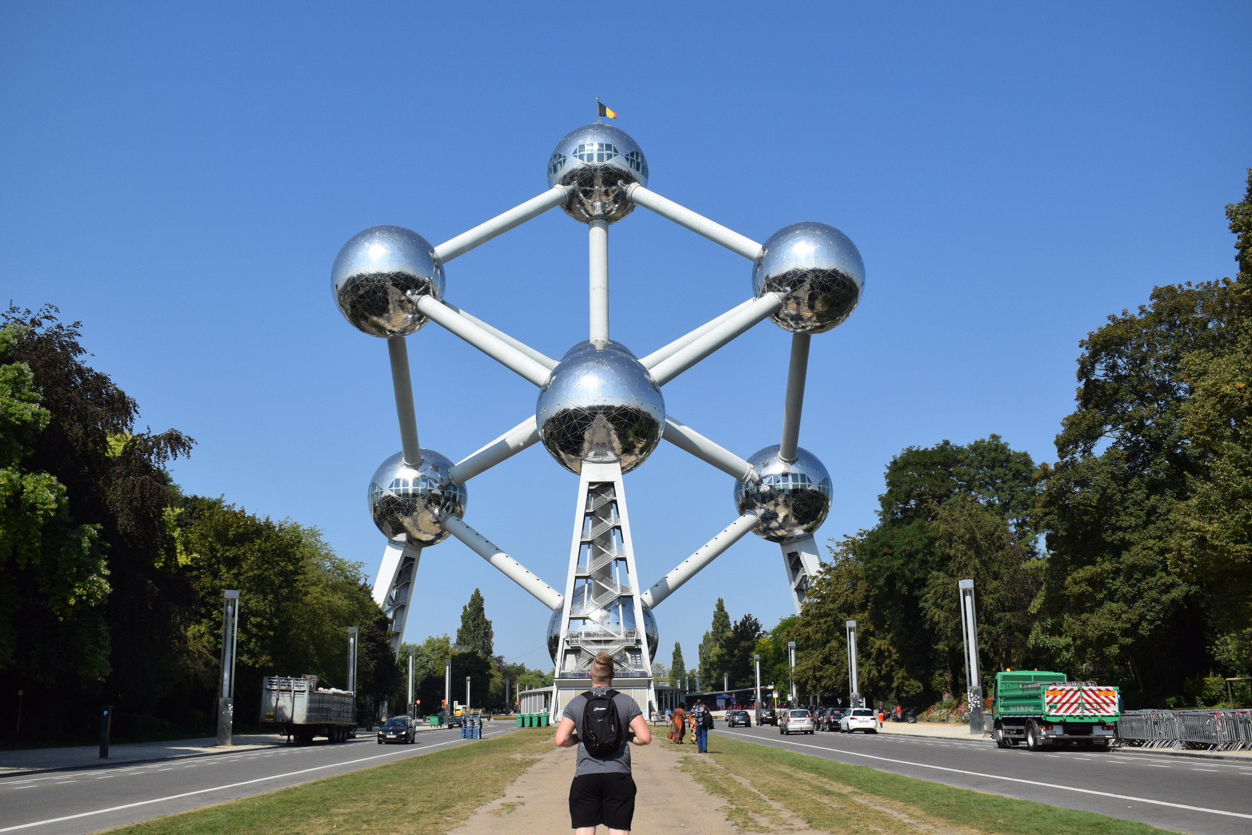 Looking out towards the Atomium in Brussels.