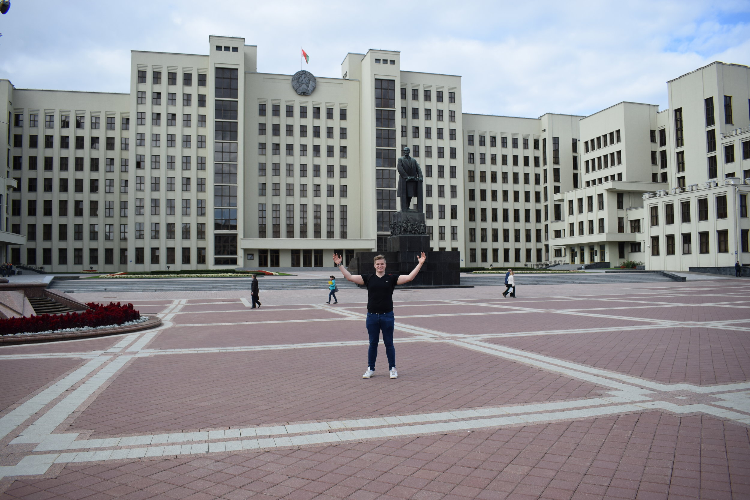 Standing tall in Minsk's Independence Square.