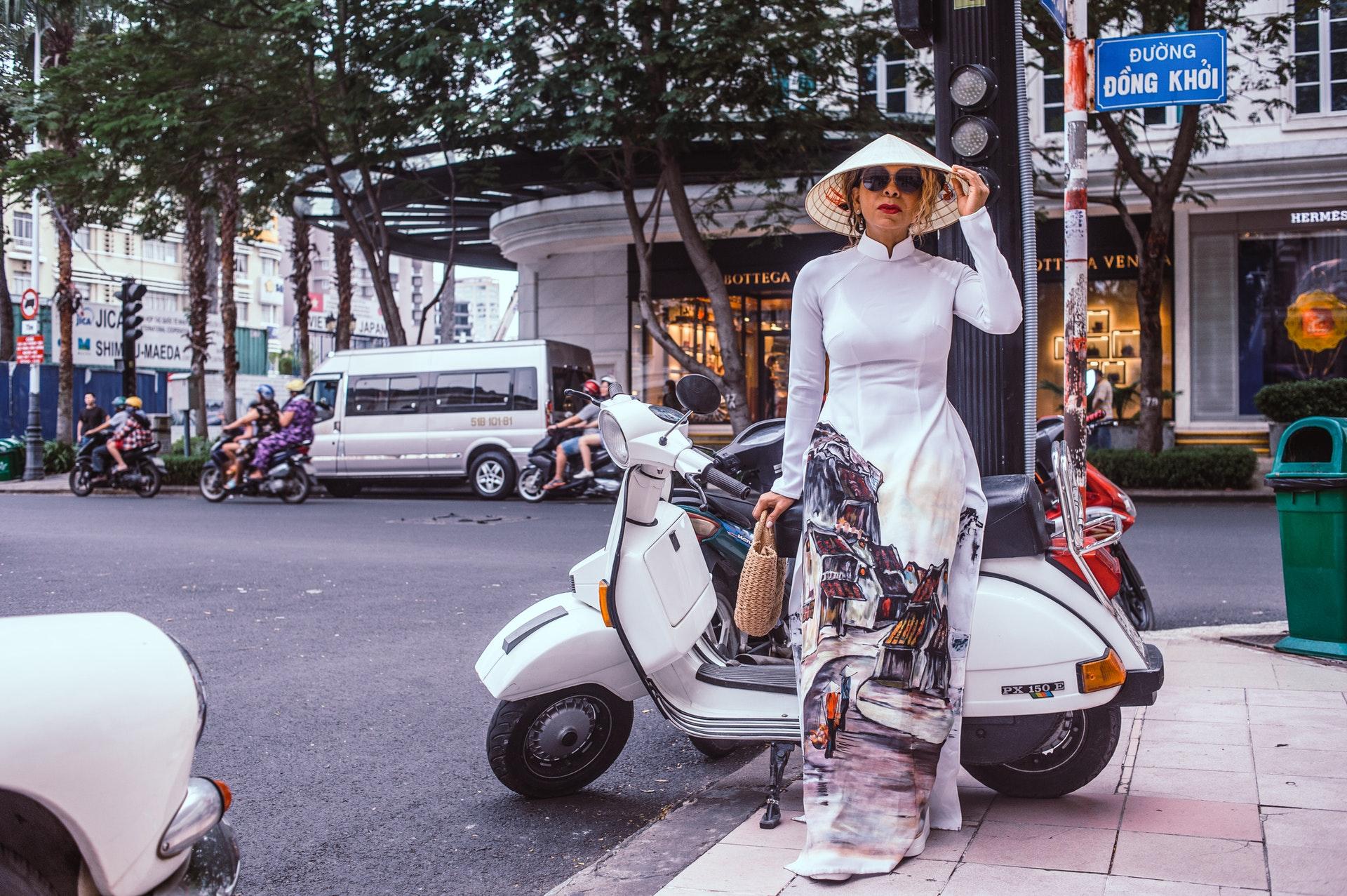 Vietnamese-Woman-Street-Motorbike-Moped-Scooter