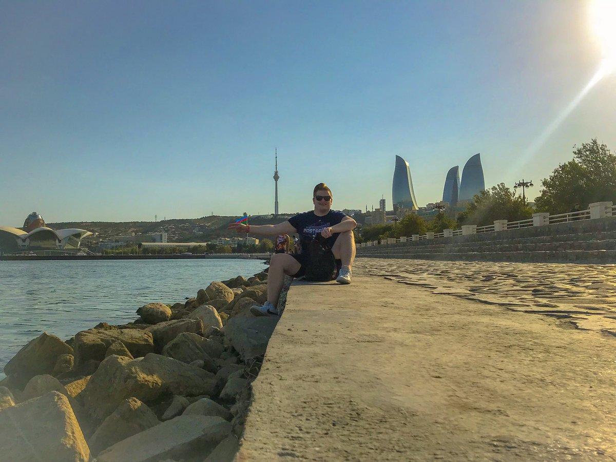 Enjoying the Caspian Sea coastline in Baku, Azerbaijan.
