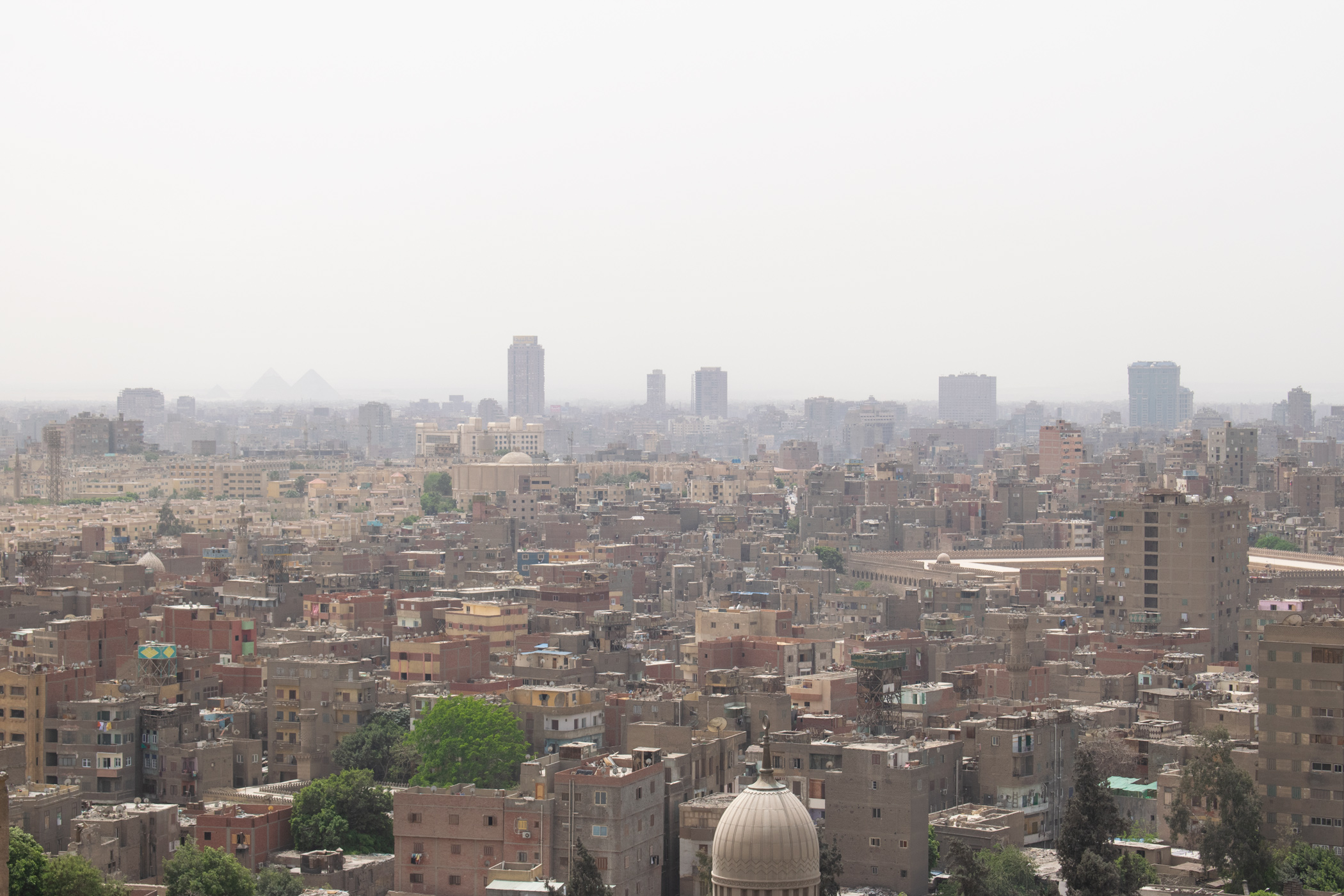 Cairo has a remarkable skyline, which can be best seen from Cairo Citadel. But the air pollution is evident as you look towards the horizon.