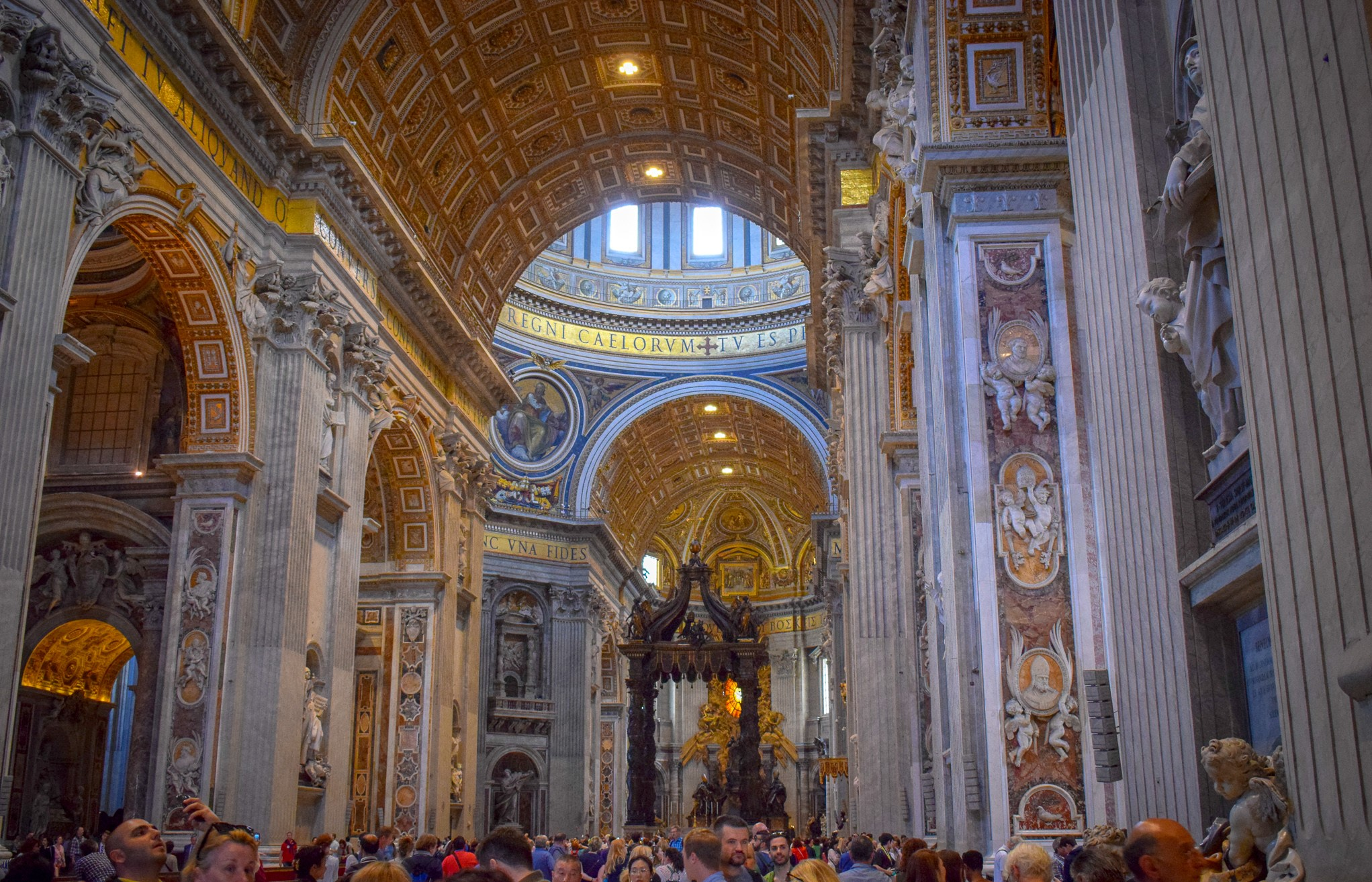 St Peter's Basilica in Vatican City - as busy as it is beautiful.