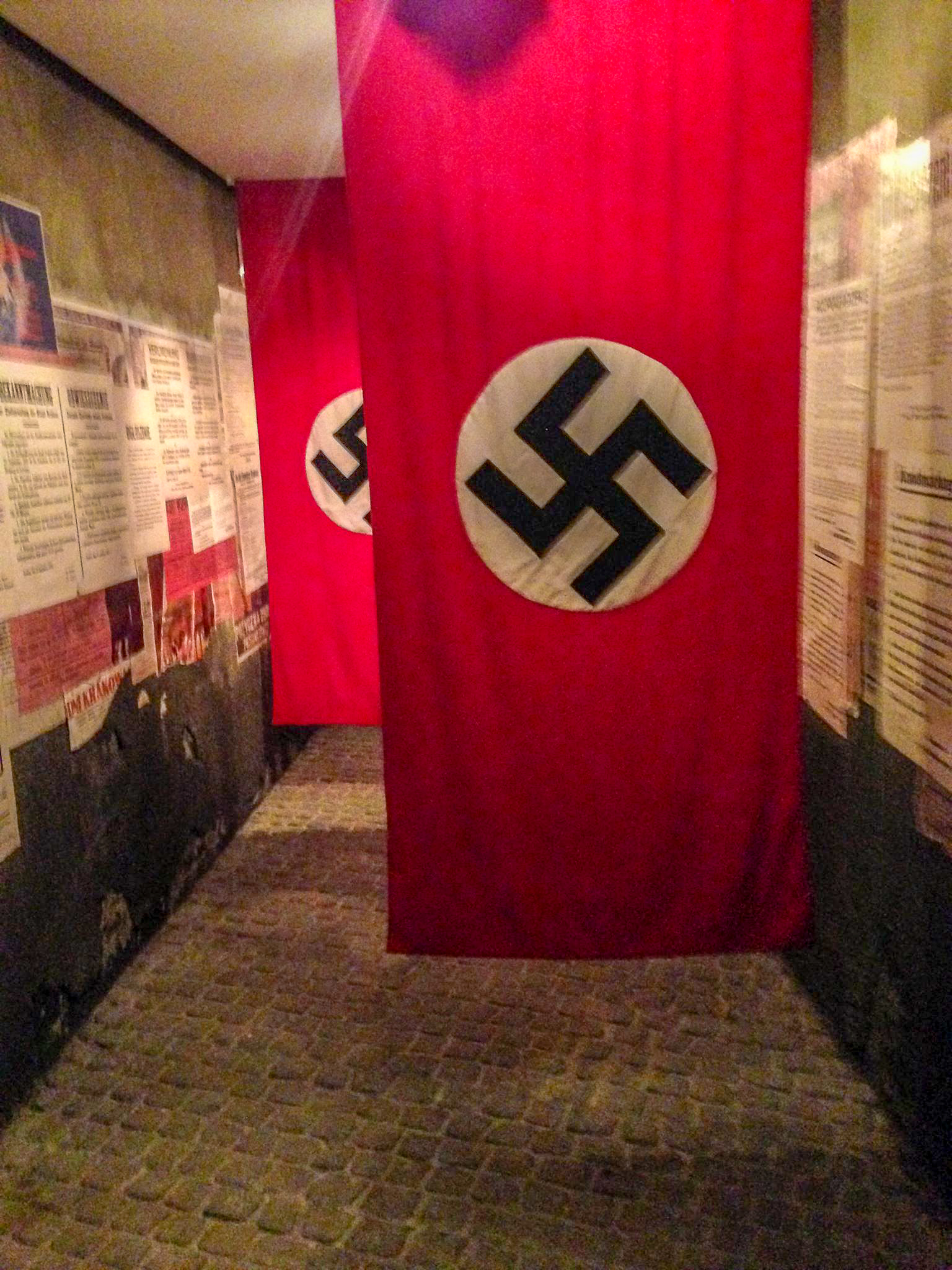 Nazi flags inside the museum which once hung in the city's streets.