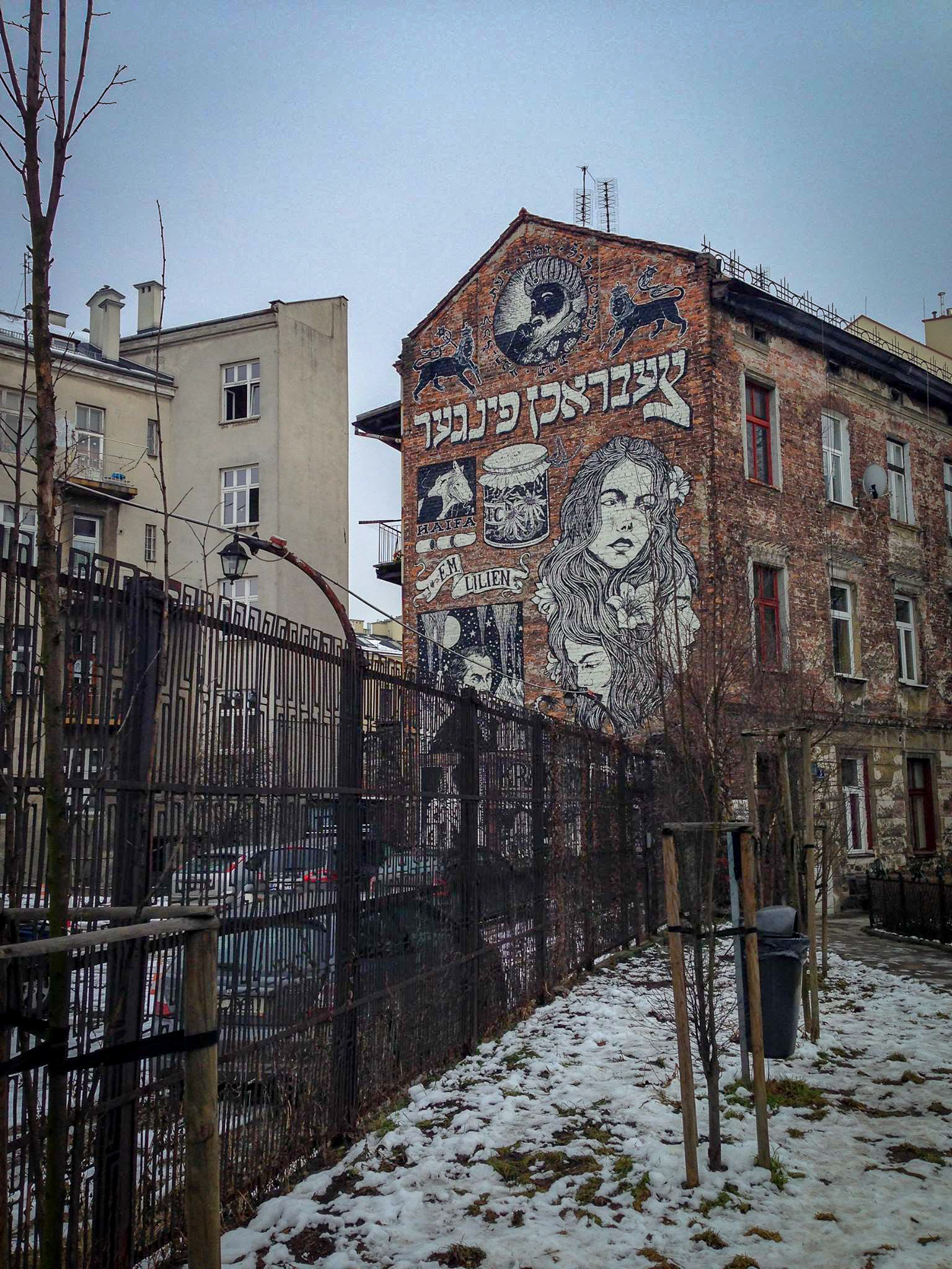 Beautiful street art in Krakow's Jewish Quarter.
