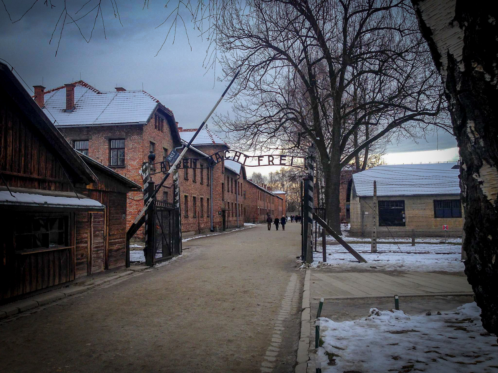 "The infamous entrance to Auschwitz which bears the ""Arbeit Macht Frei"" sign."