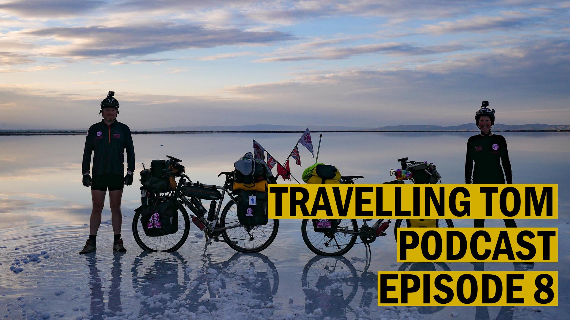Chris and Gabs pose with their bikes at Tuz Salt Lake in Turkey. Image credit:    Chris & Gabs World Cycling Tour   /   Flickr