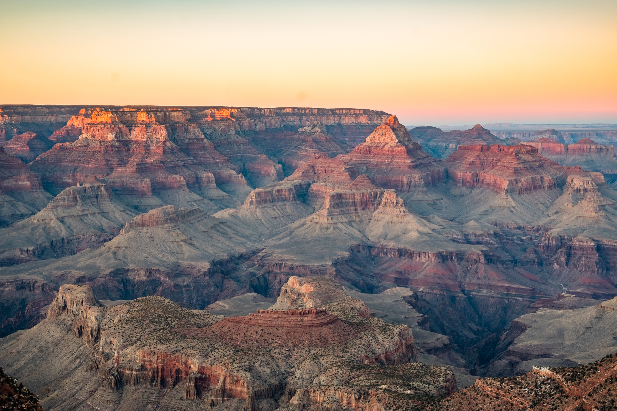 Sunrise and sunset are two of the best times to take in the Grand Canyon.