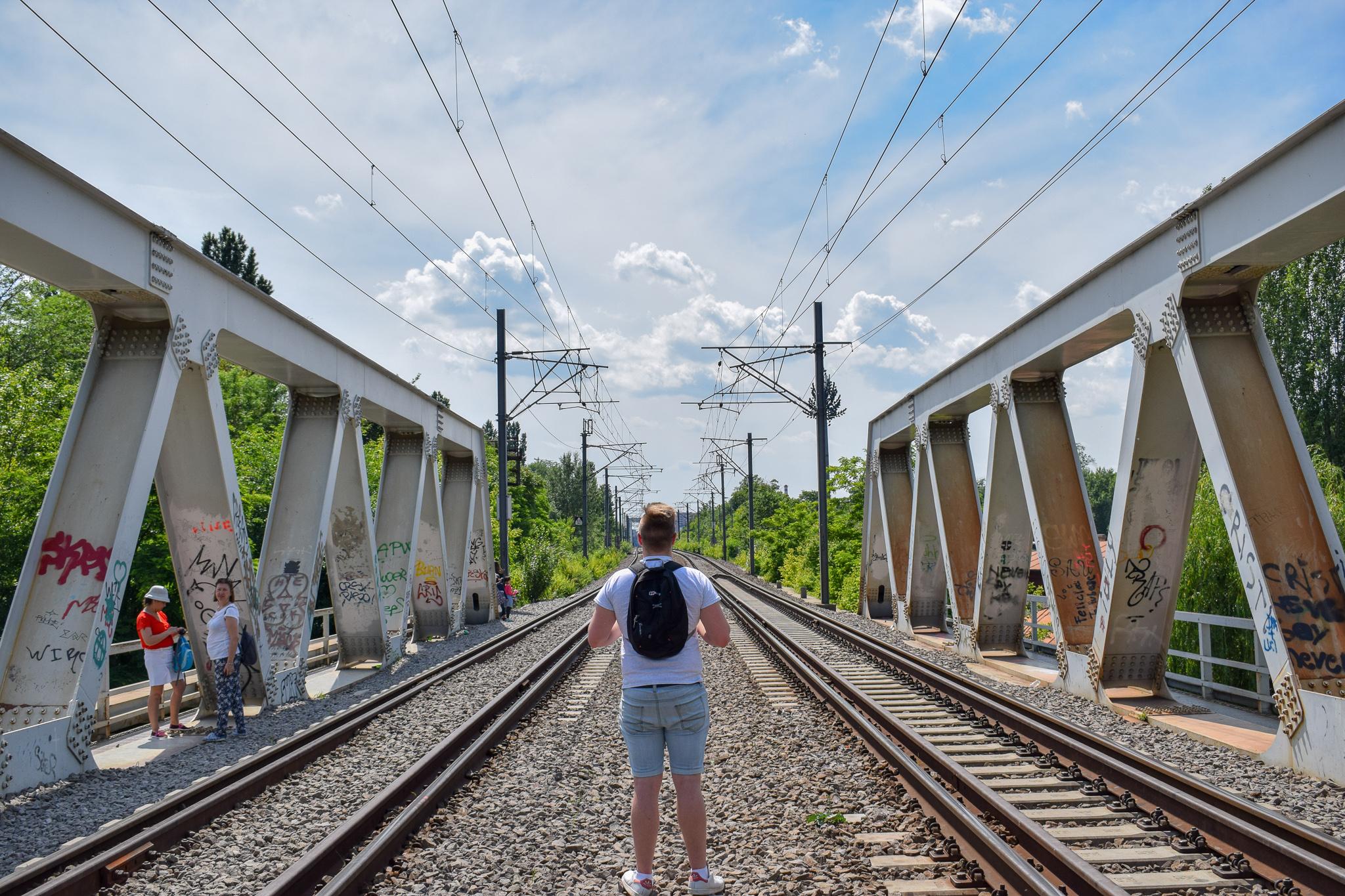 Crossing the train tracks at Herastrau Park.