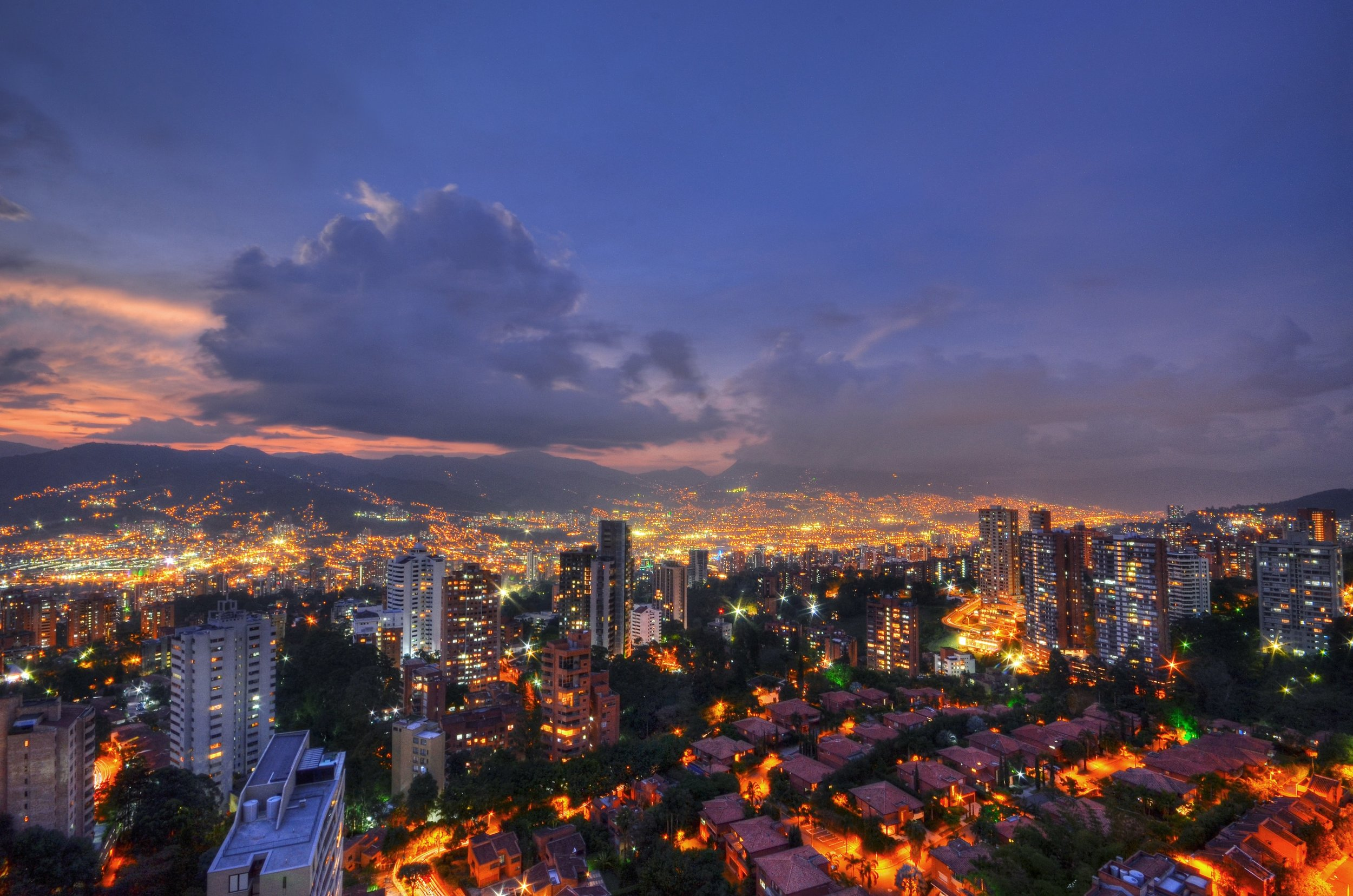 Medellin looks stunning at night.