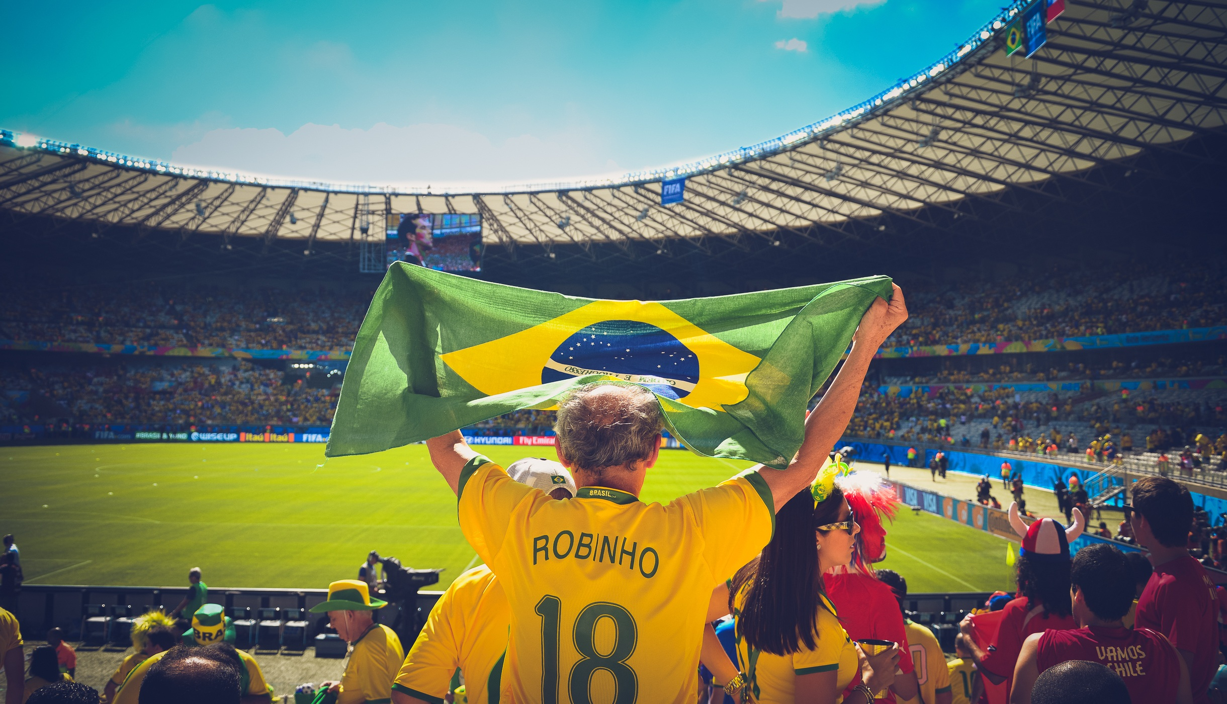 A Brazil fan awaits kick off at the 2018 FIFA World Cup in Russia.