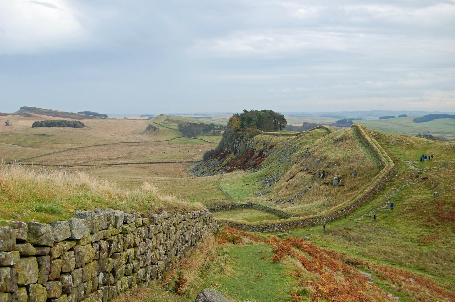 Although construction stated in 122 AD, a significant part of Hadrian's Wall still stands.