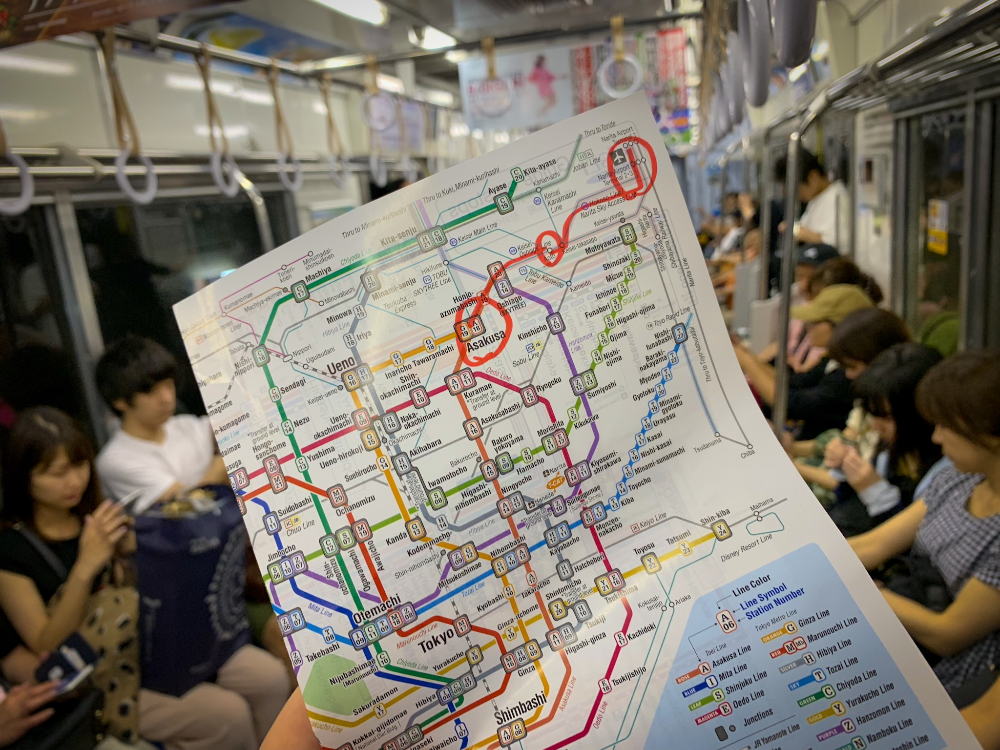 The map I used to navigate from Narita Airport to Asakusa, the district in which I was staying.