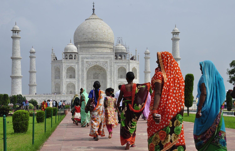 Locals visiting Taj Mahal in Agra, India.
