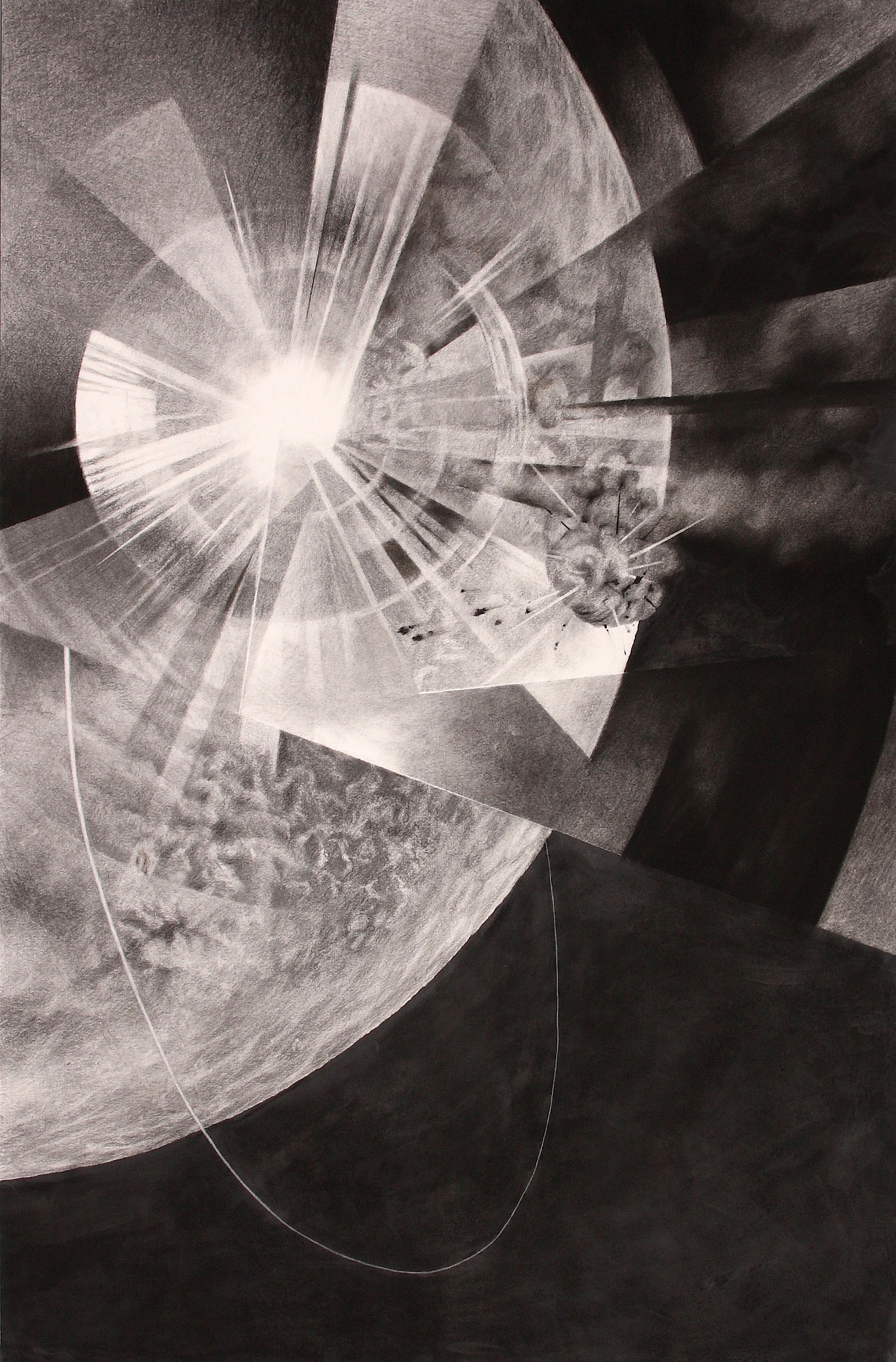 "Polar Reversal (2008)  charcoal, graphite  42"" H x 28"" W"