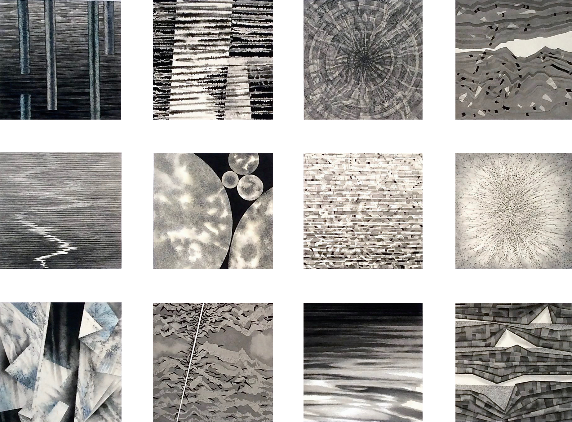 "12 Fracking Sketches (2015)  b&w media on paper  52"" H x 66"" W (14"" x 14"" ea.)"