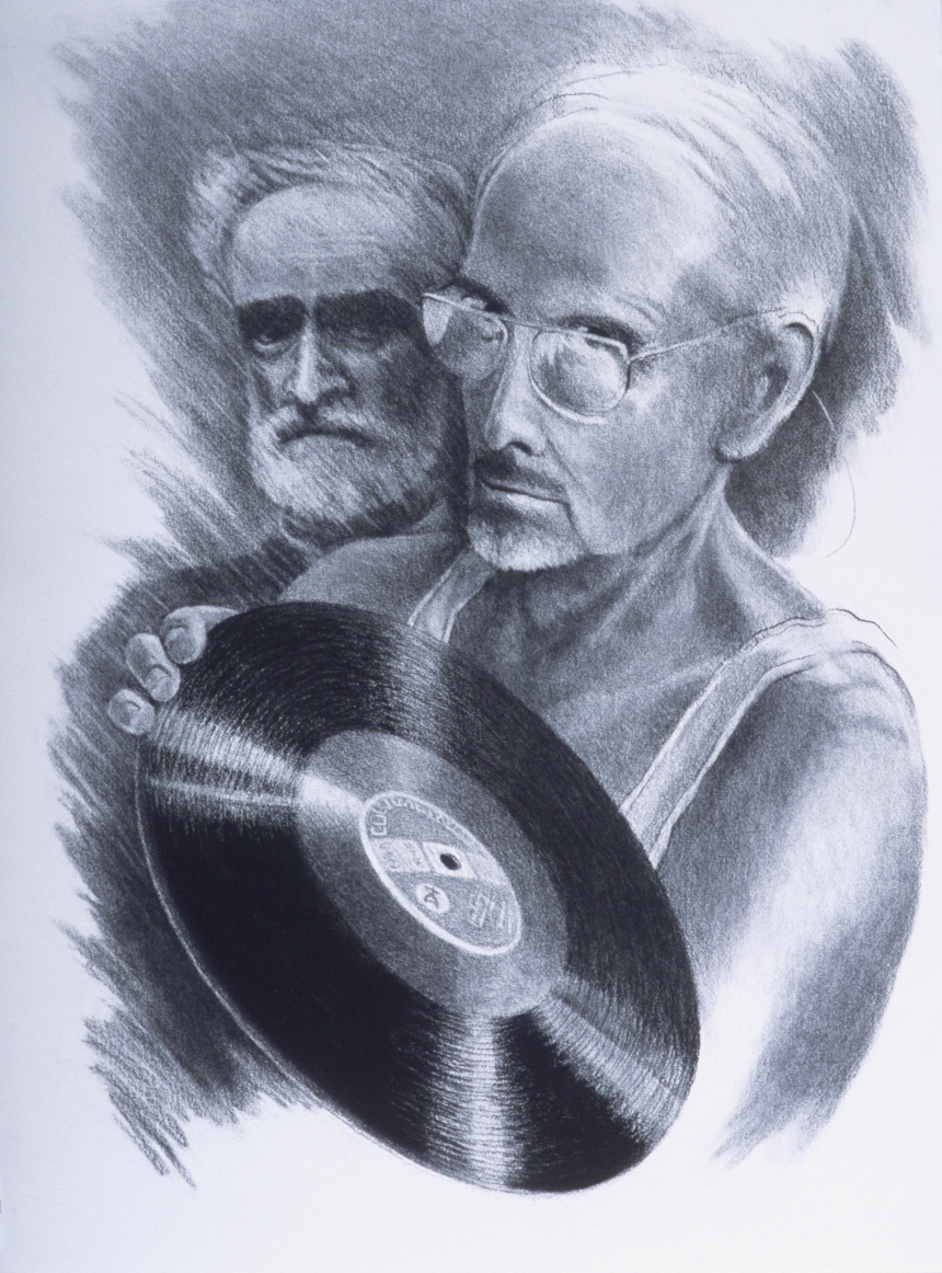 "Don Dugal and Joe Green consider Rosa Ponselle's 1919 recording from La Forza del Destino (2002)  charcoal  30"" H x 22"" W"