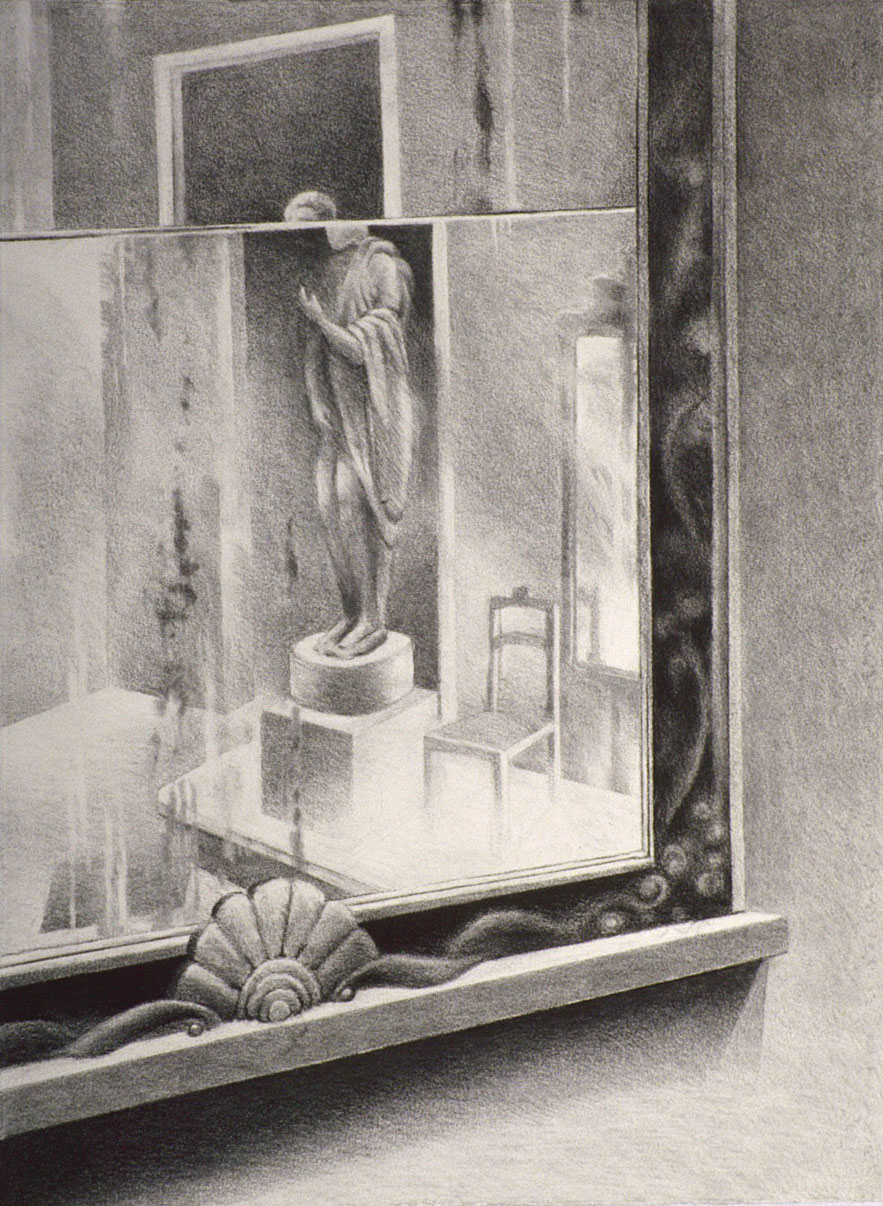 "At the MET – Disorientation (1999)  charcoal  25"" H x 19"" W"