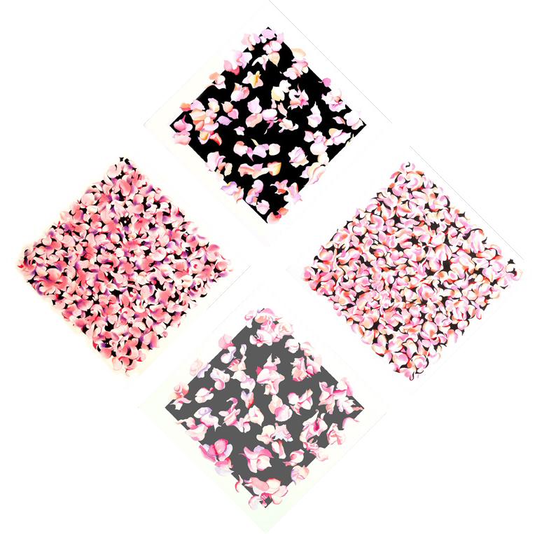 "Bougainvillea -Suite A (2010)  pastel, acrylic, ink  68"" H x 68"" W"