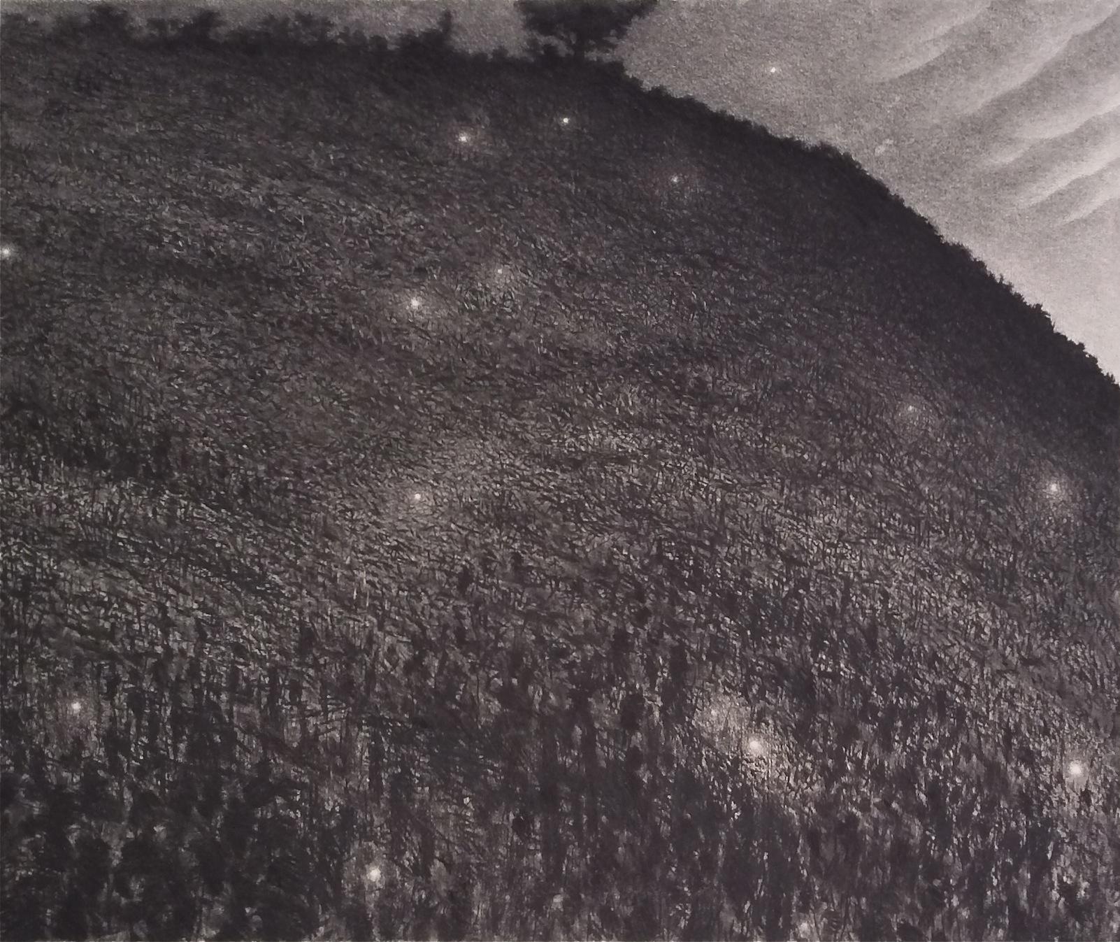 "Nite Lites (2013)  charcoal  37 1/2"" H x 44 3/4"" W"
