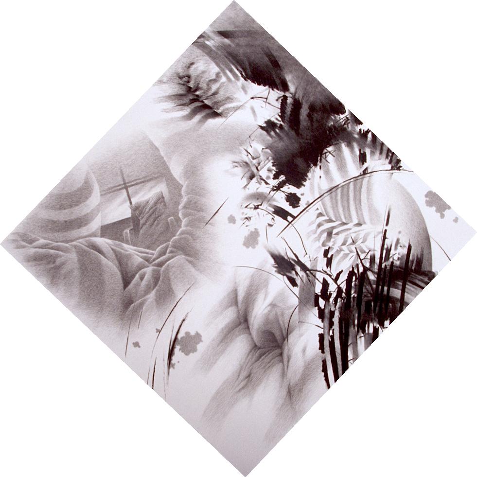 """Sleep – Multiple Pillow Assaults (1995)  charcoal  46"""" H x 46"""" W"""