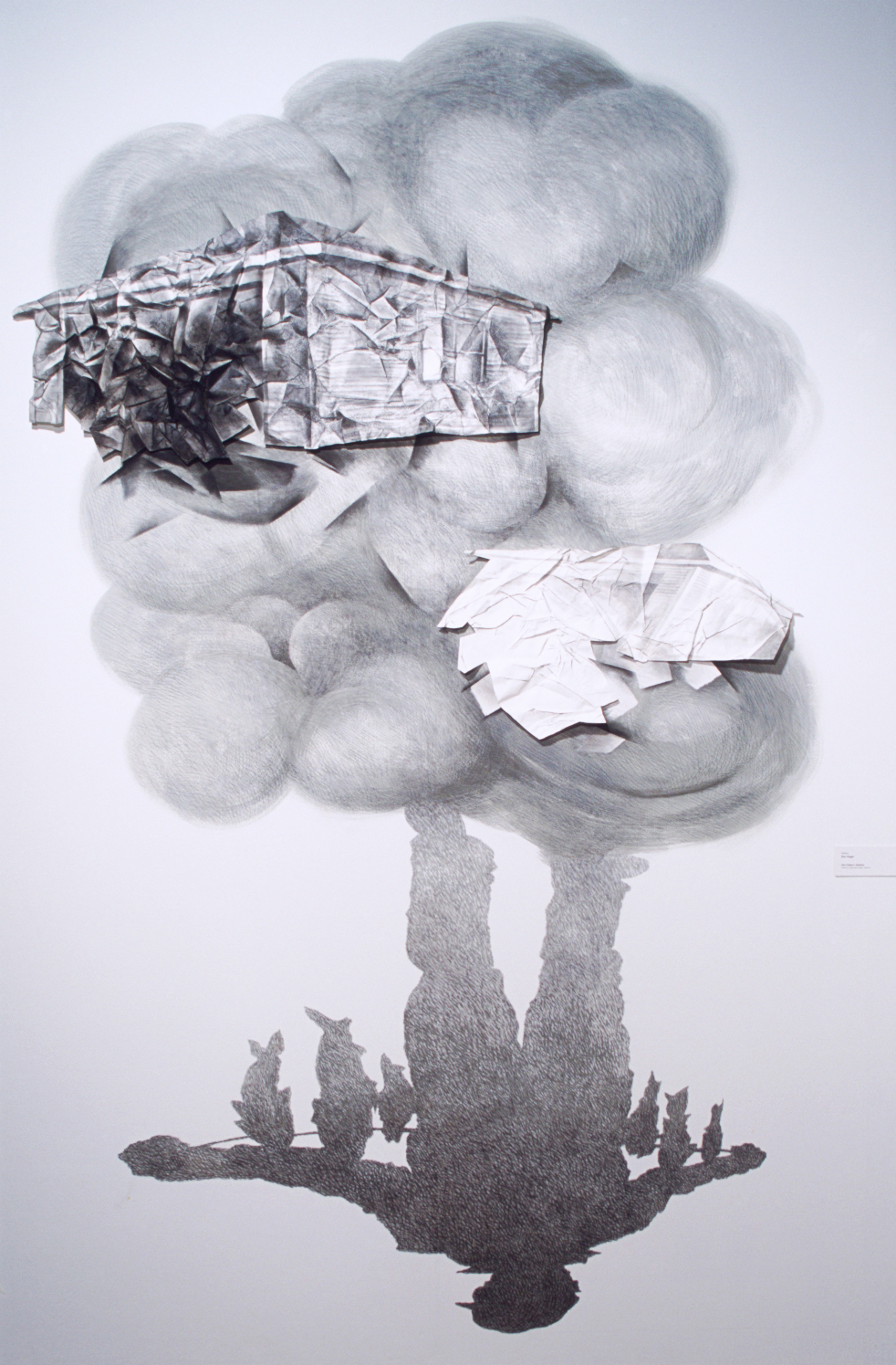 "The Father's Shadow (2001)  wall drawing - charcoal, paper collage  156"" H x 120"" W"