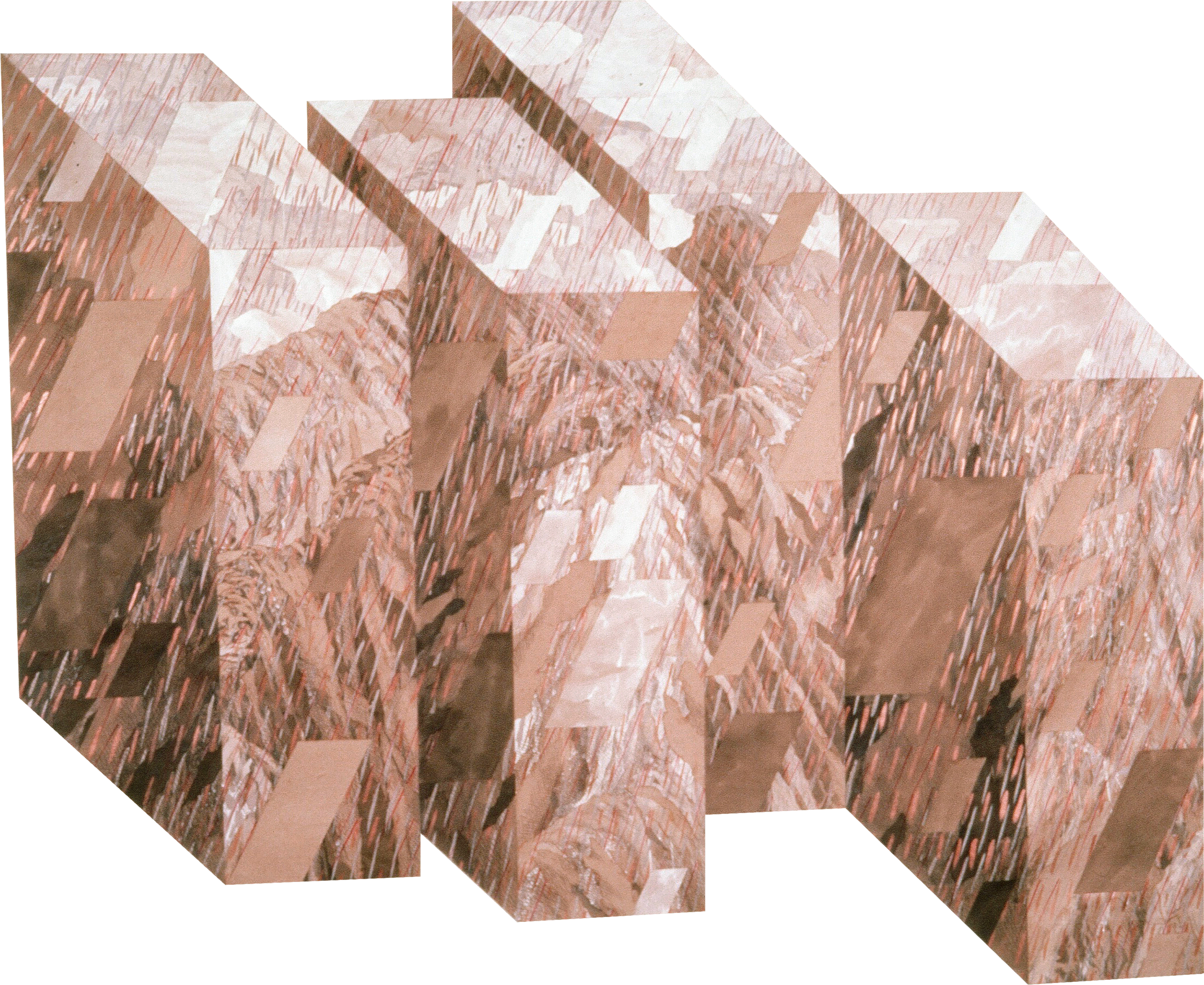 "A Walk in the Mountains with A.B. (1982)  sepia ink, gesso, acrylic collage  84"" H x 100"" W"
