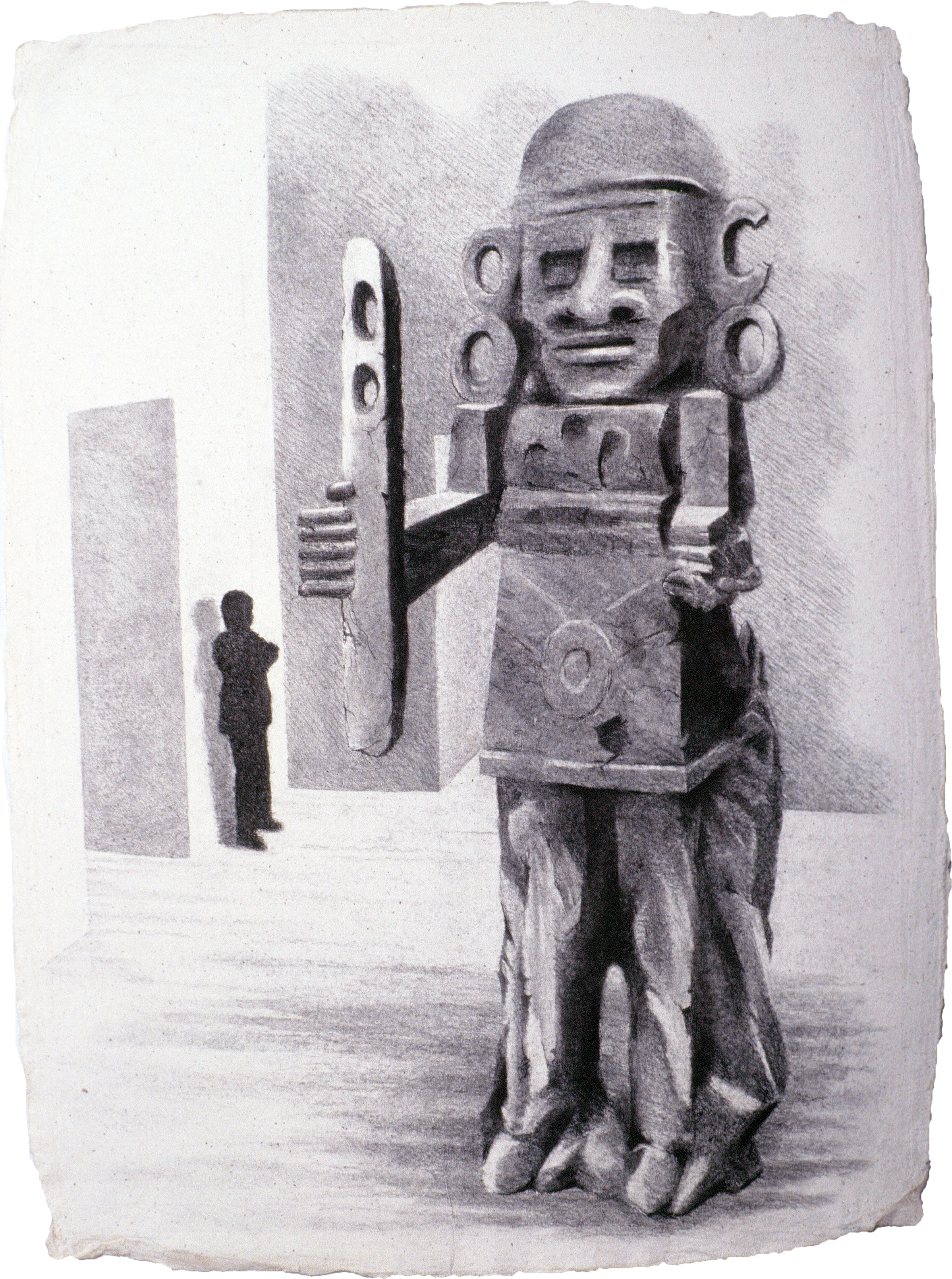 "At the MET - Guardians (1999)  charcoal  30"" H x 22"" W"