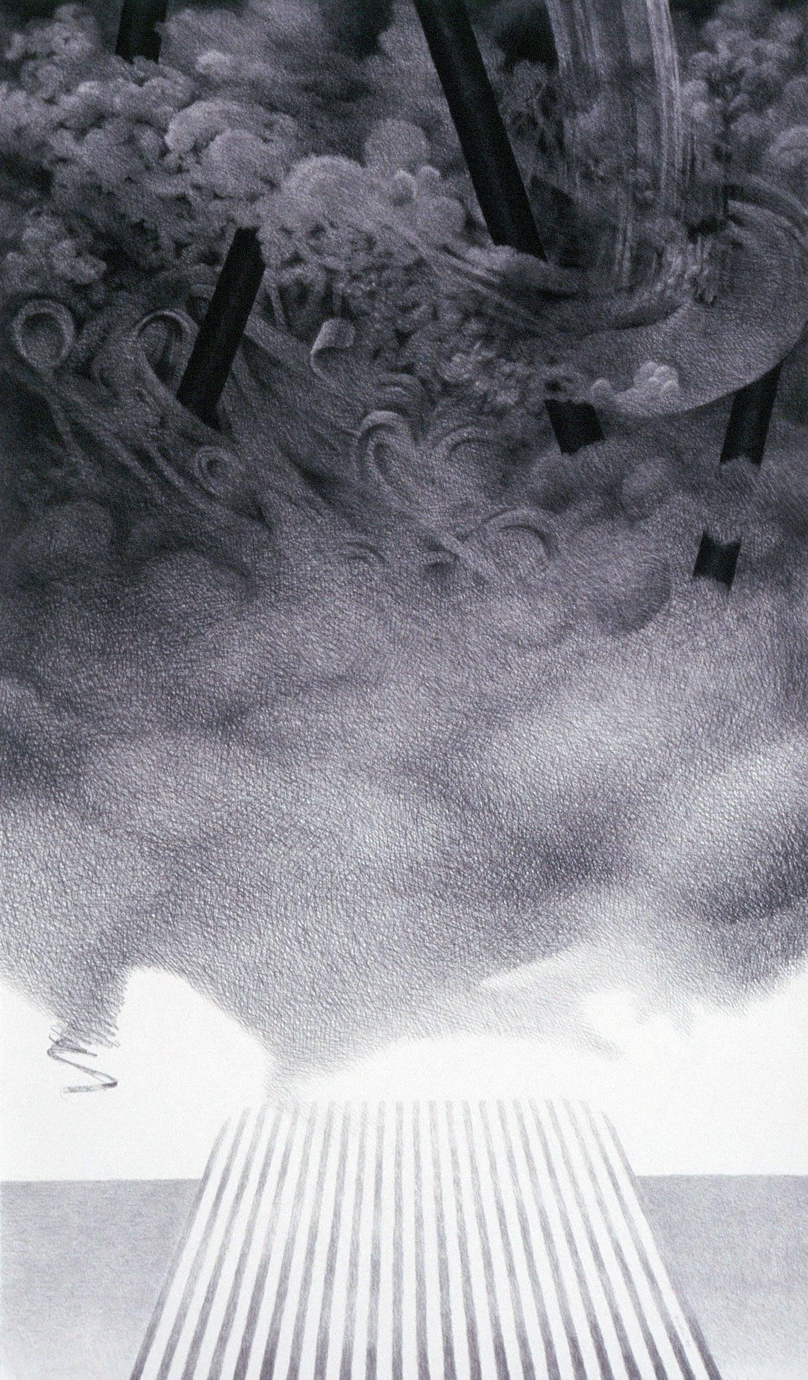 "Sleep: Decent (1994)  charcoal  50"" H x 29 1/2"" W"