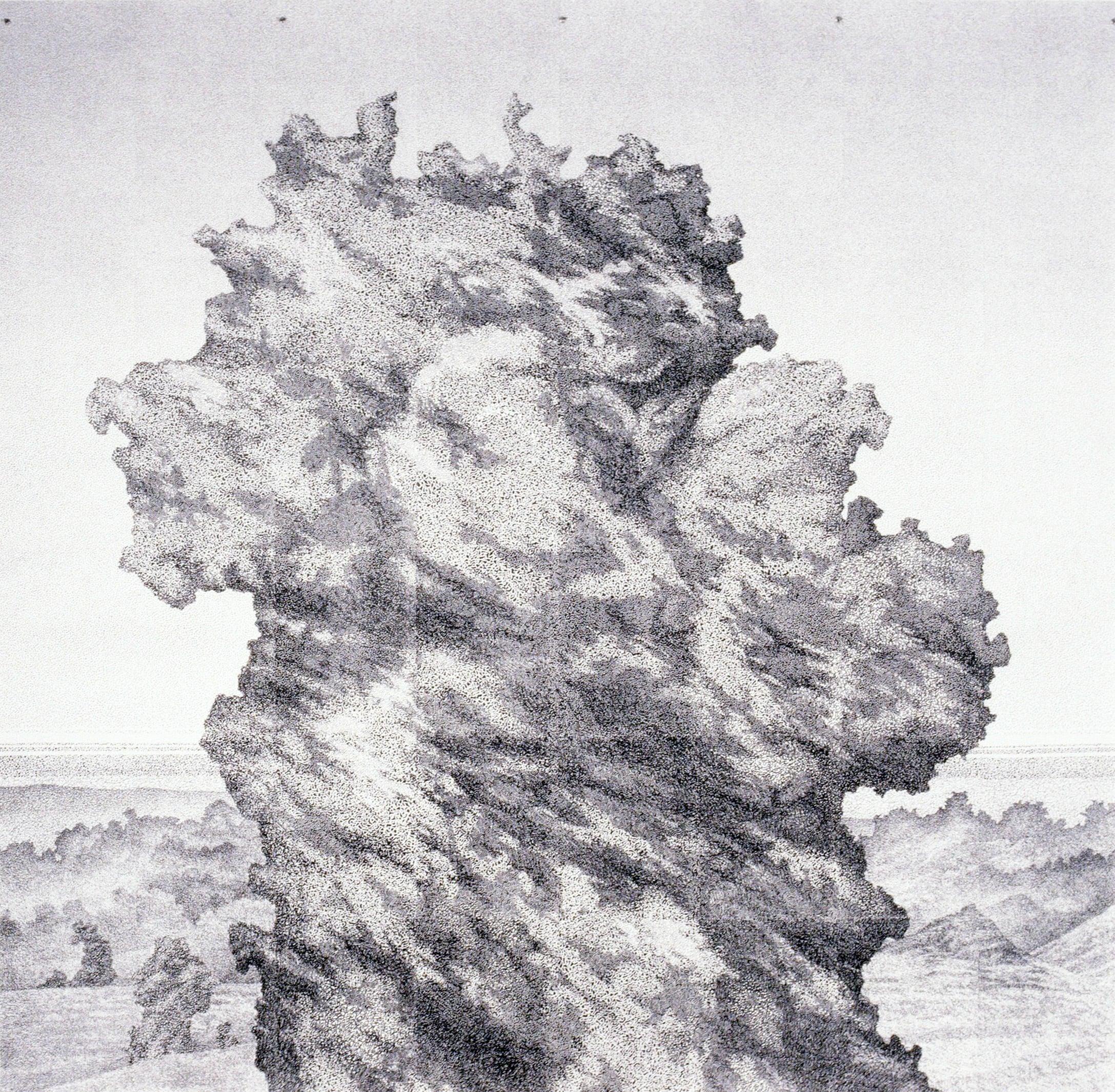 """Volcanic Phenomena: Behemoth (1990)  xerox printed drawing  55"""" H x 55"""" W"""