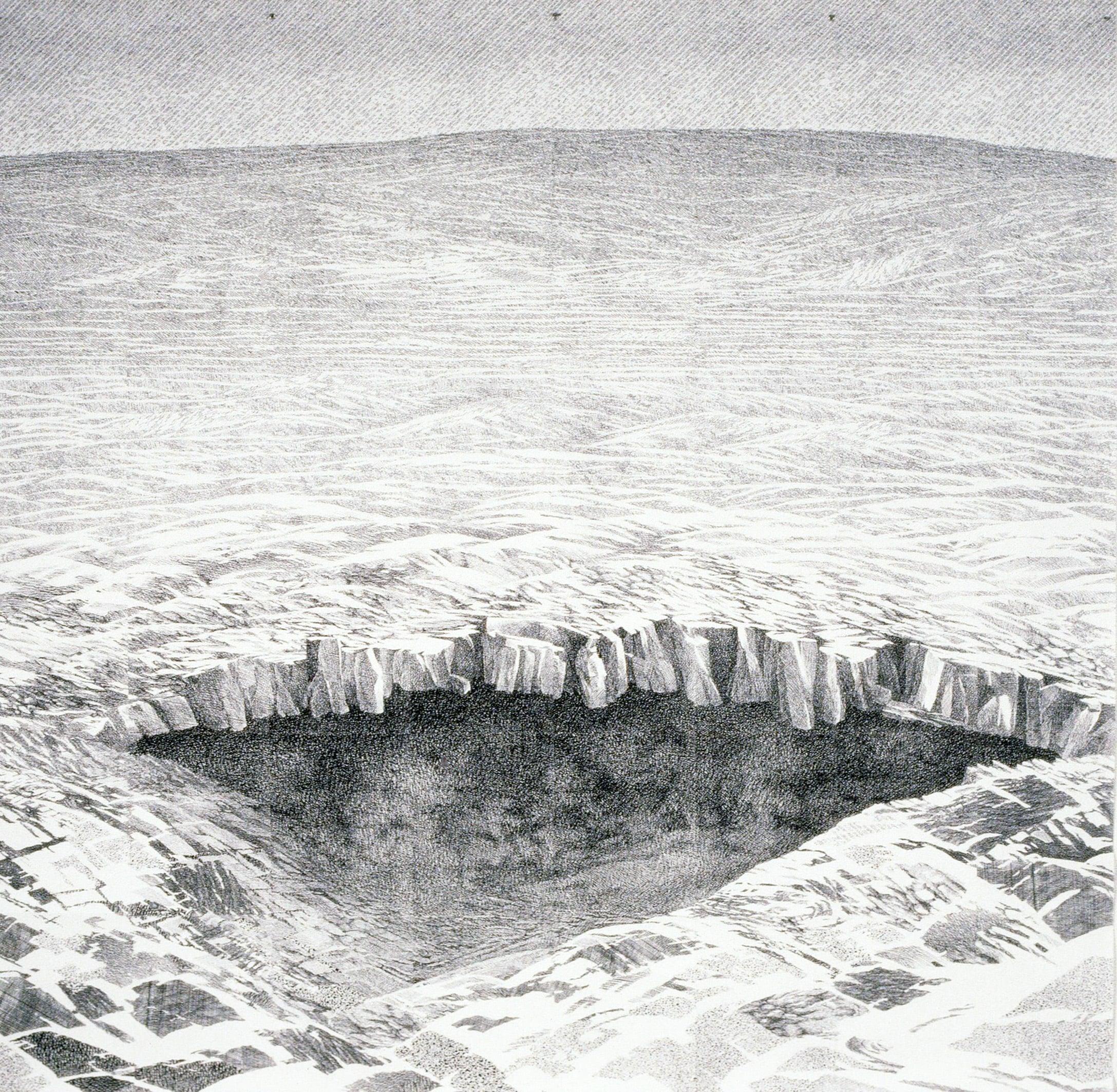 """Volcanic Phenomena: Invitation (1990)  xerox printed drawing  55"""" H x 55"""" W"""