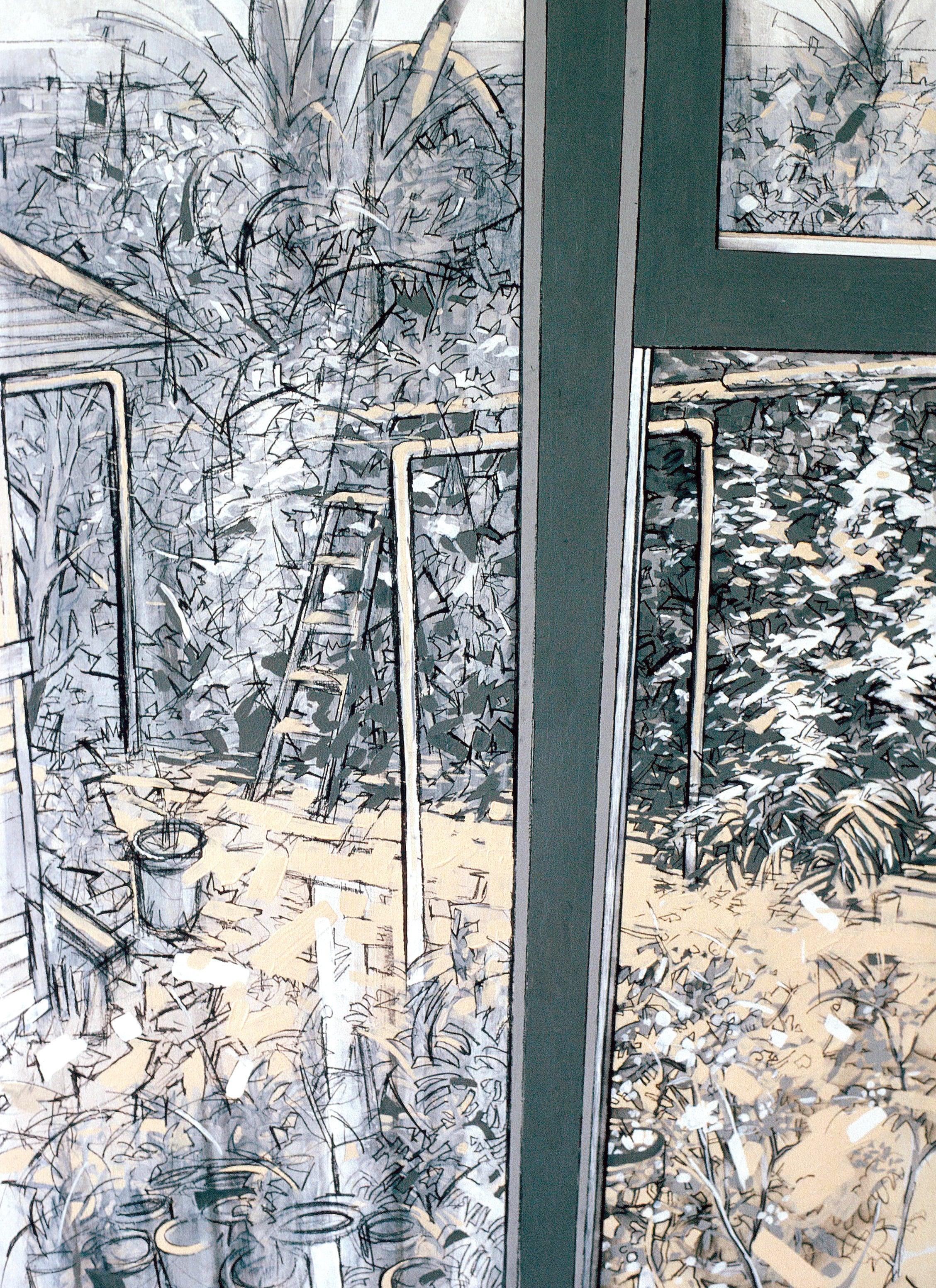 """Framed Garden (1992)  conte', acrylic  30"""" H x 24"""" W"""