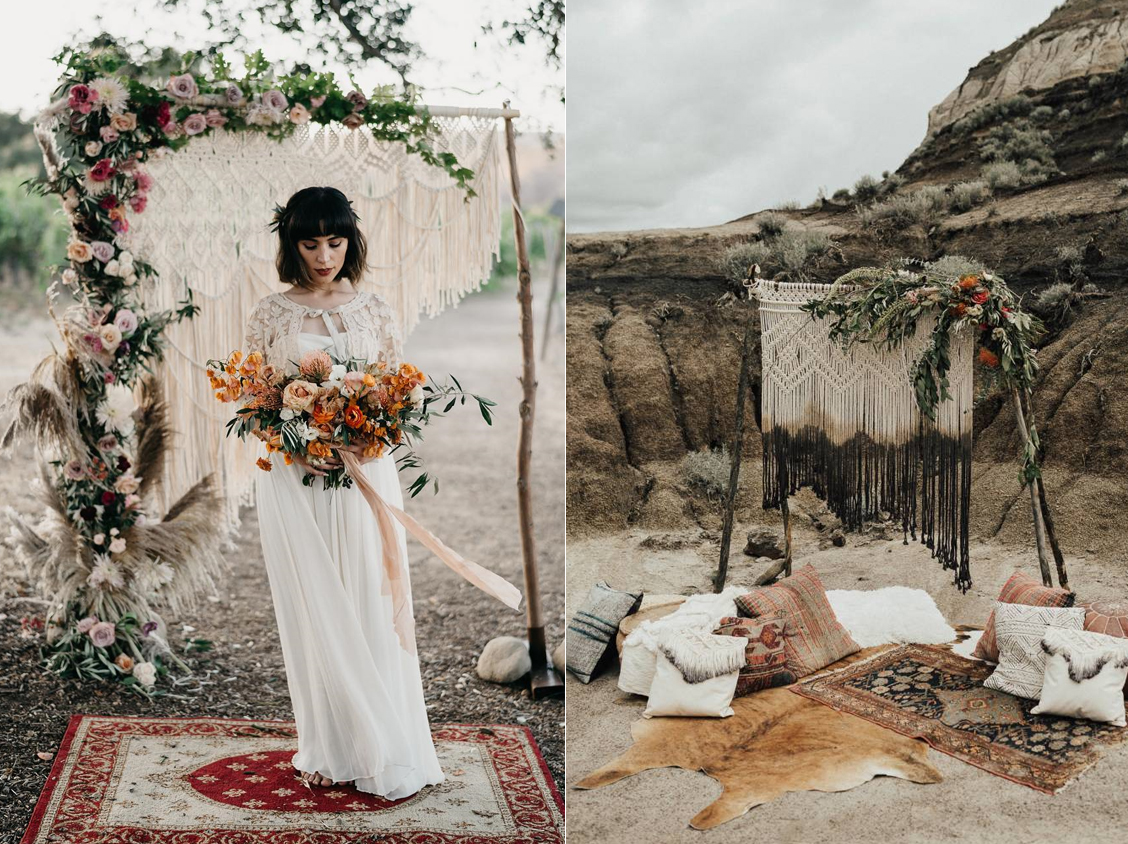 Foto:  The Times We Have  Diseño floral:  Floweriize  Macramé:  Raké Boho Decor  / Foto:  Michelle Larmand Photography  Macramé:  Of Quartz Interiors