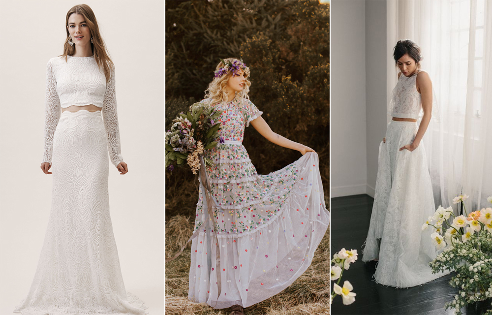 Vestidos:  BHLDN ,  Needle & Thread  y  Alexandra Grecco .
