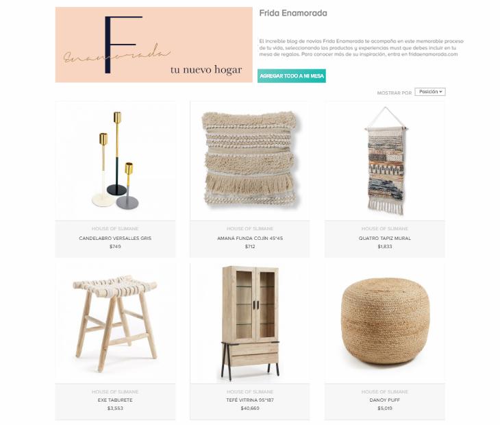 mesa de regalos online