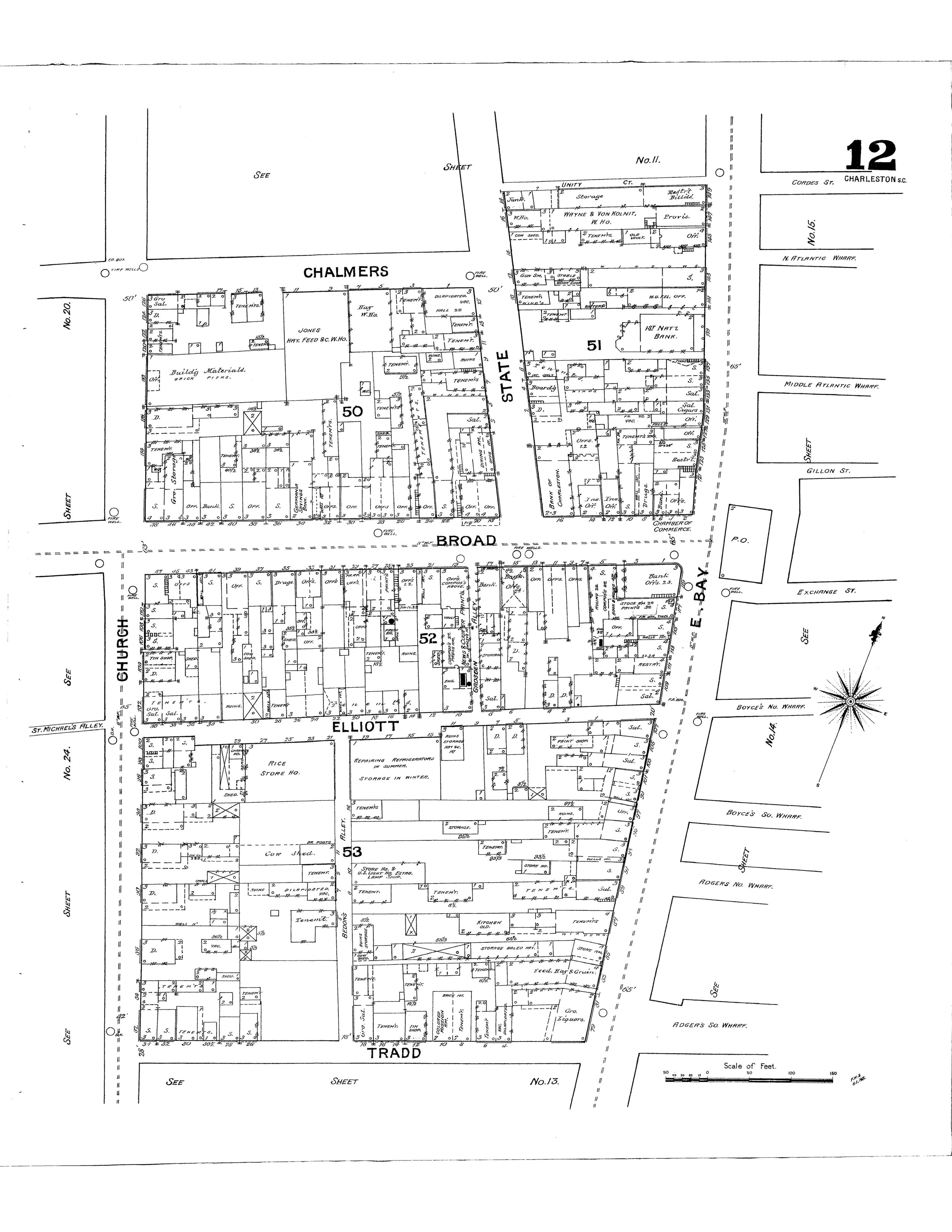 - April 24, 2017Sanborn Maps date back to the mid 19th century and were originally created for assessing fire insurance liability in cities around the country. In our office, we use these maps to see how the use and structures on properties have evolved over time throughout the city, using maps from as early as 1884. Seeing this evolution helps understand the history of the city. Below is a map from 1888 we used for a project located on Broad Street, in the heart of downtown.