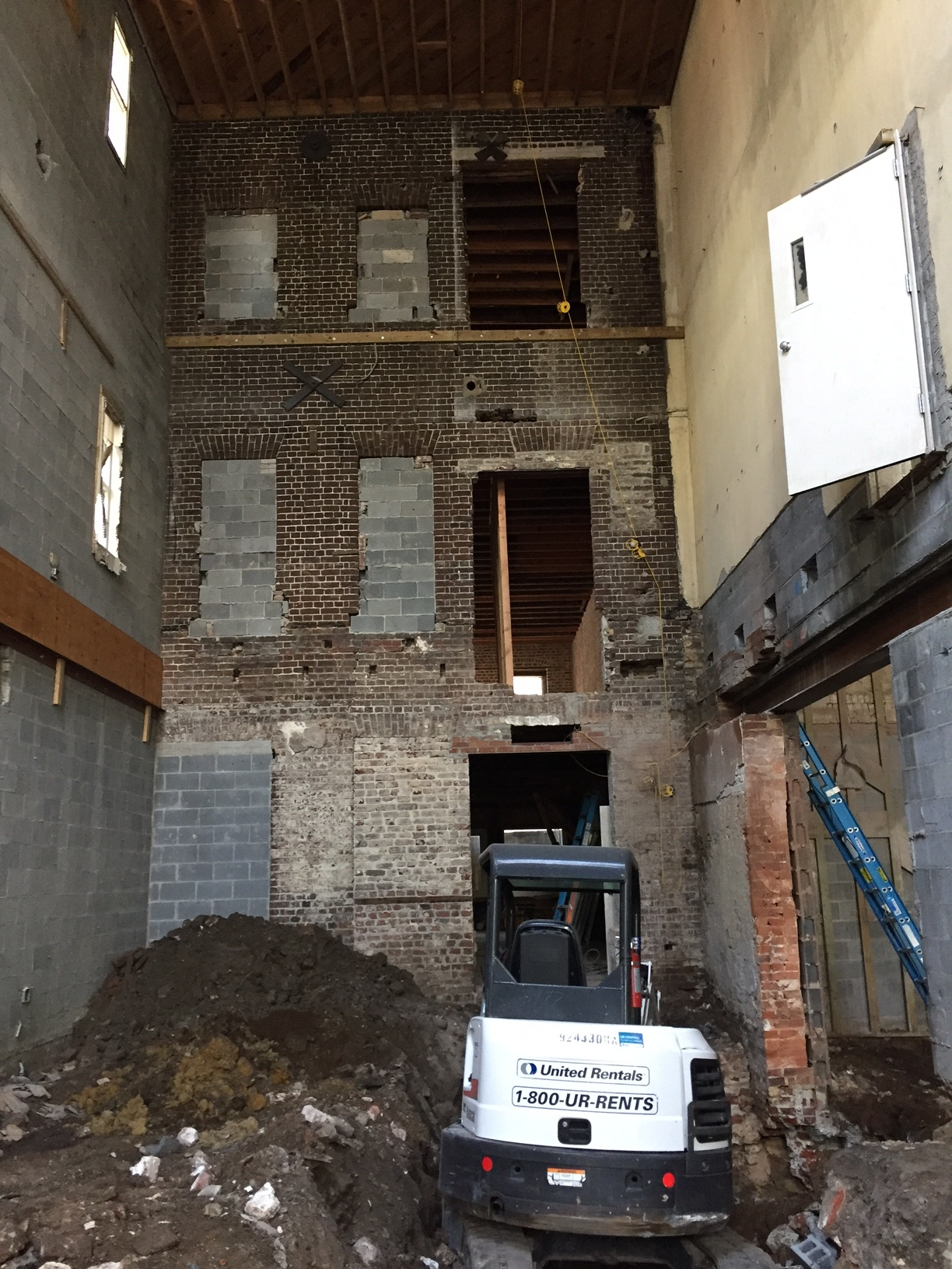 - May 1, 2017Excited to have exposed this historic brick wall in a Broad Street project, with foundation work going on as well.