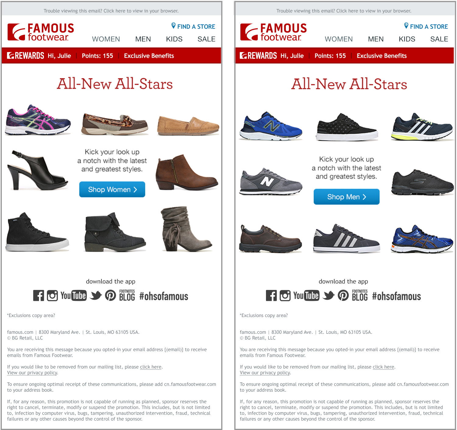 I designed this minimalist email to highlight the variety of new shoes for the season. It performed XX% better than the average Famous Footwear email generating $XX in revenue.